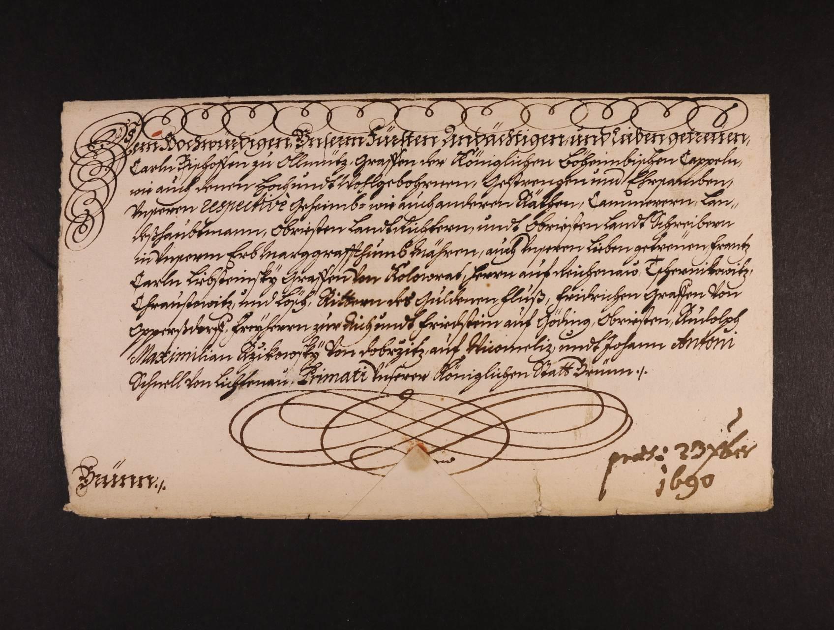 skl. dopis z r. 1690 s podpisem cís. Leopolda I., dekorativní