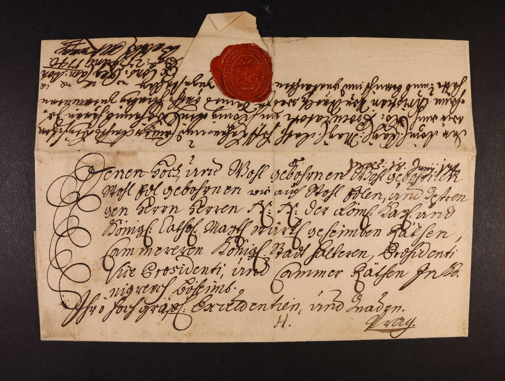 skl. dopis z r. 1740 se zdvořilostní adresou a neporušenou pečetí, zajímavé