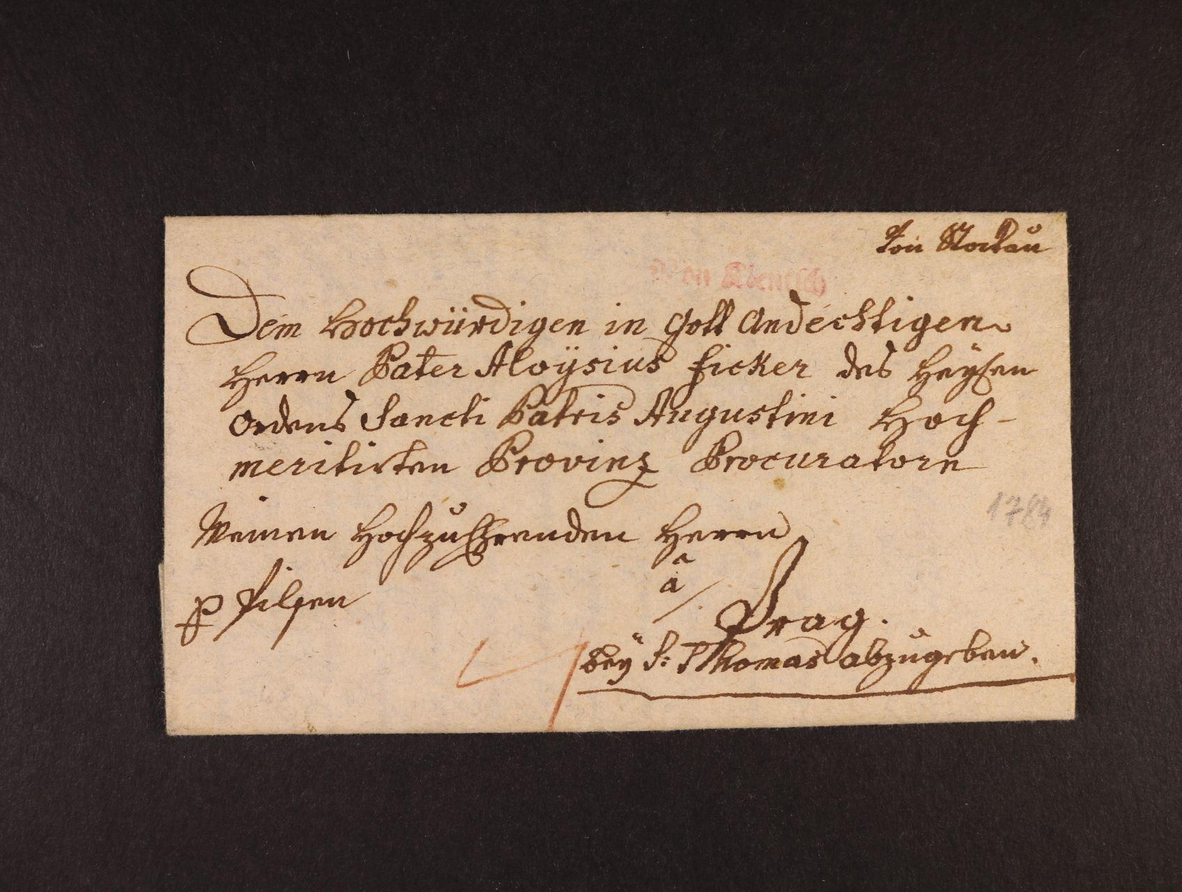 skl. dopis do Prahy z r. 1784 s červeným řádk. raz. VON KLENTSCH, vzadu červené datové razítko, Vot. ani Muller nezná!, jedno z nejvzácnějších českých razítek, jsou známy  3 dopisy!