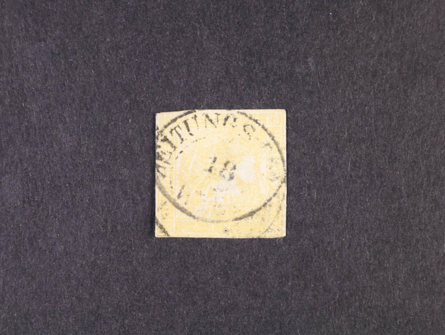 zn. Fe. č. 7, typ Ib, ockergelb s černým dvojitým raz.