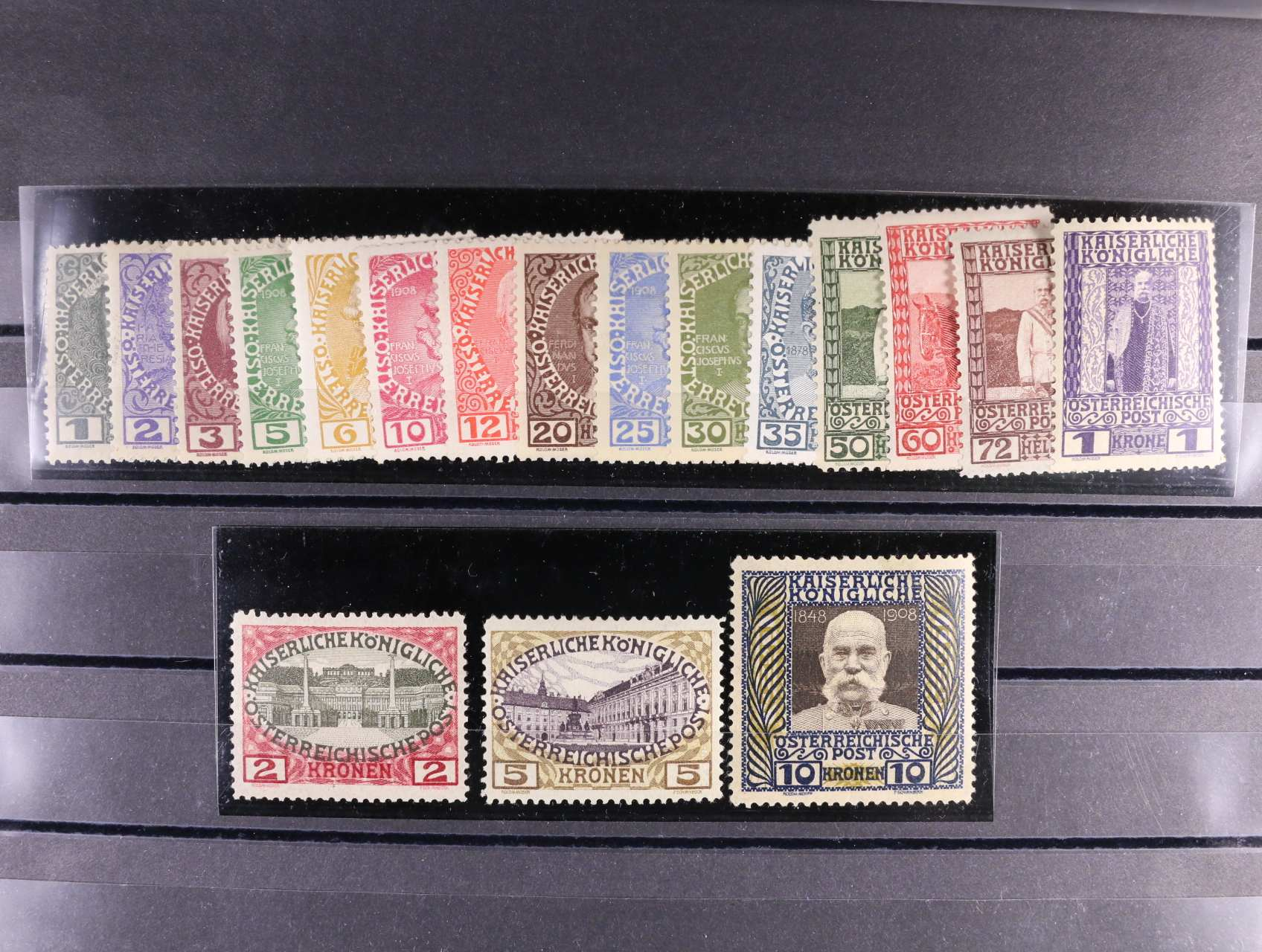 zn. Mi. č. 139 - 156 Jubilejní 1908, zn. 2K - 10K na šedém papíře (Mi. 154z - 156z), 3100 RUR
