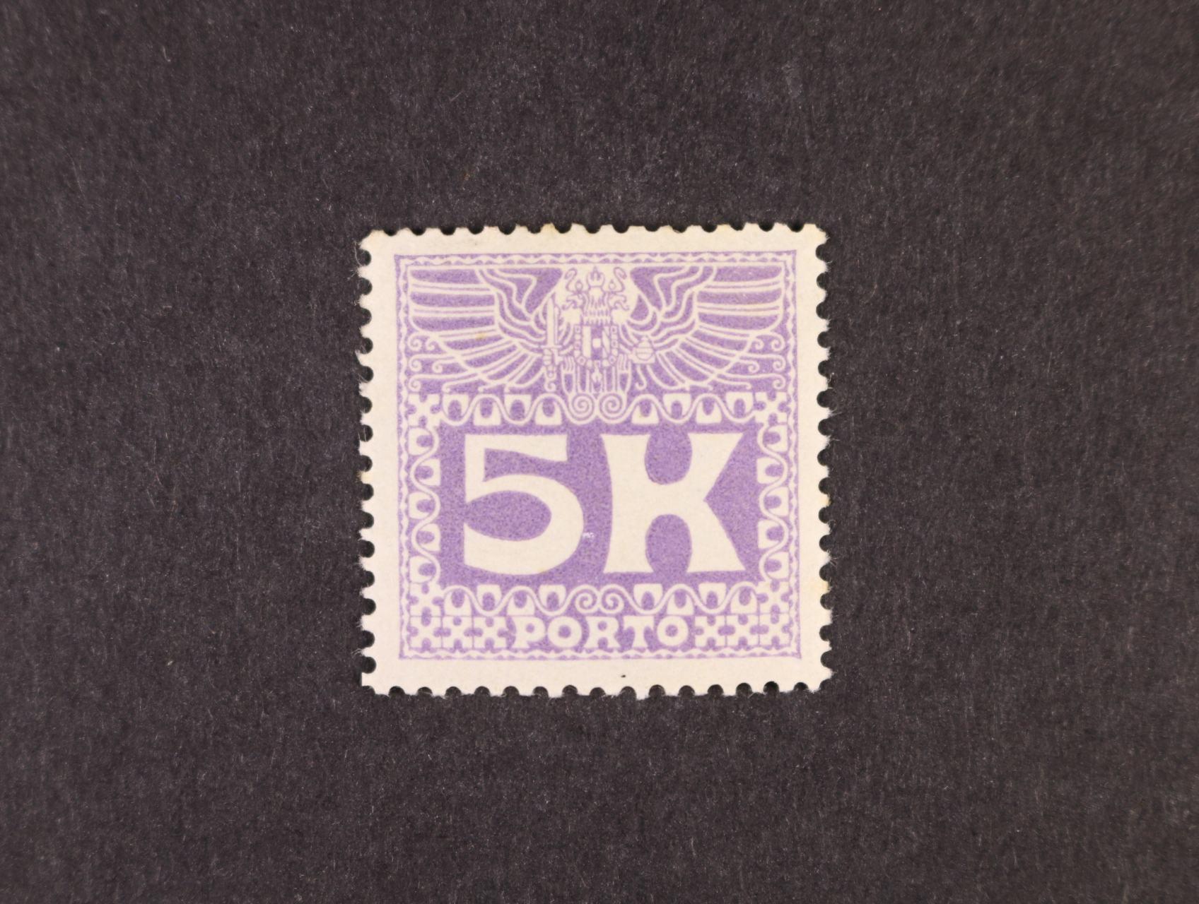 zn.  Mi. P č. 45 5K fialová, 300 EUR