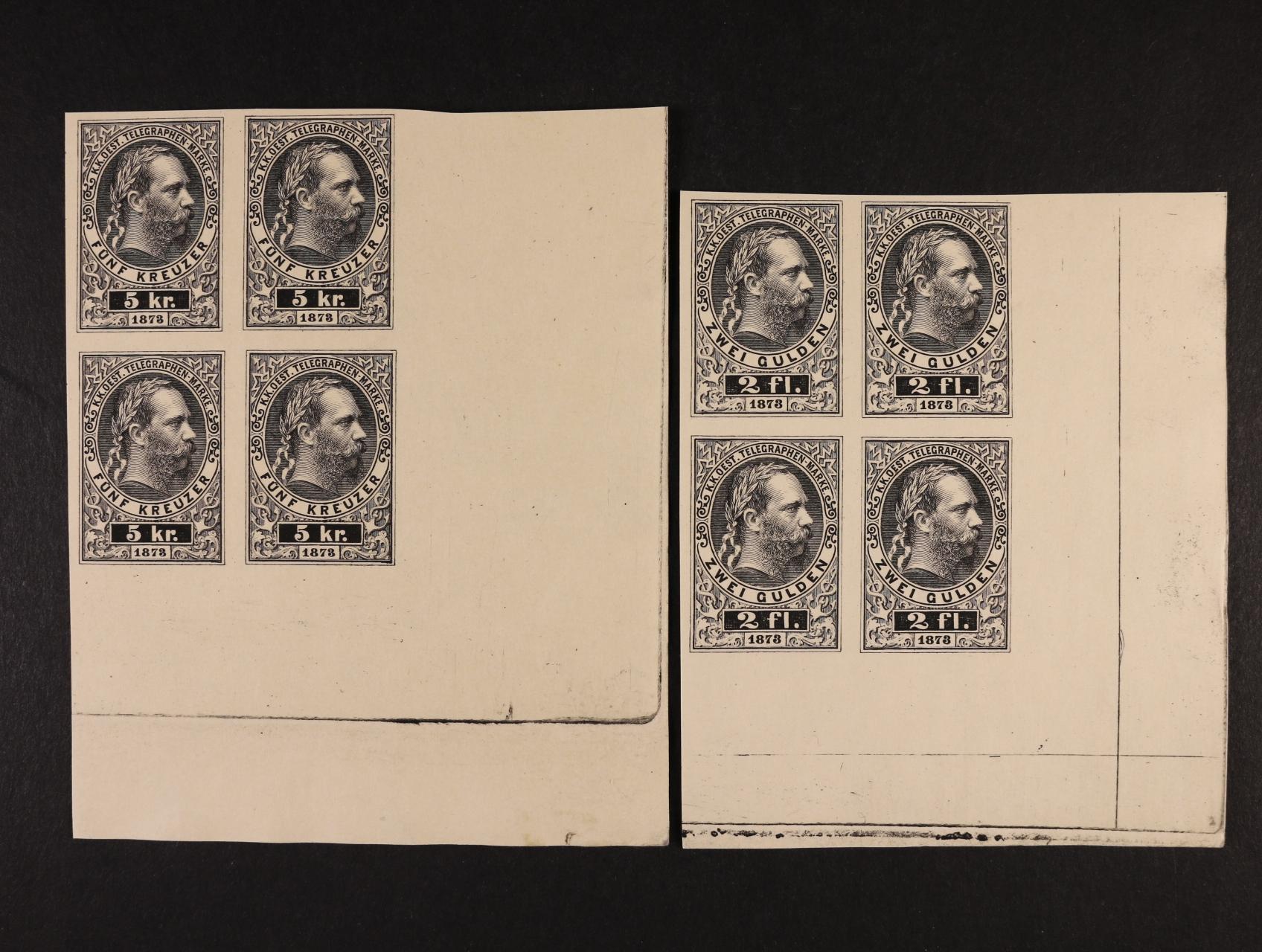 telegrafní 1878 - ZT 4-bloky nezoubkované, v černé barvě, rohové, unikátní bloky – z jediného dochovaného archu zkusmých tisků z Vídeňského poštovního archívu, katalogy dosud neuvádějí!
