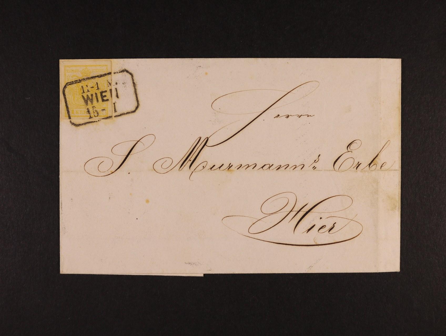 skl. dopis zr. 1857 frank. zn. Fe. č. 1, pod. rámeč. raz. WIEN