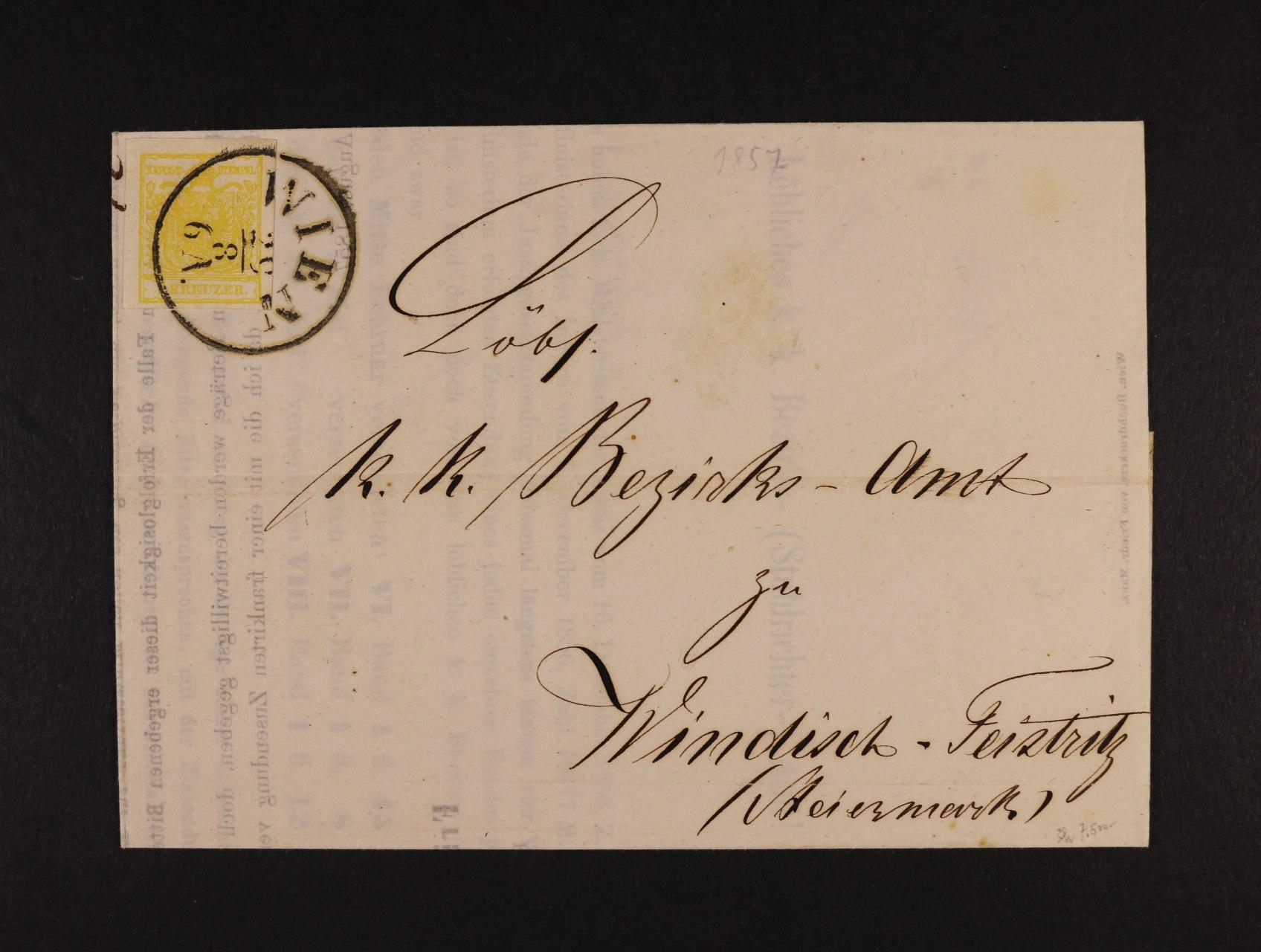 skl. tiskopis z r. 1857 frank. zn. Fe. č. 1 HP, typ I, pod. raz. WIEN 29.8., lux. kvalita