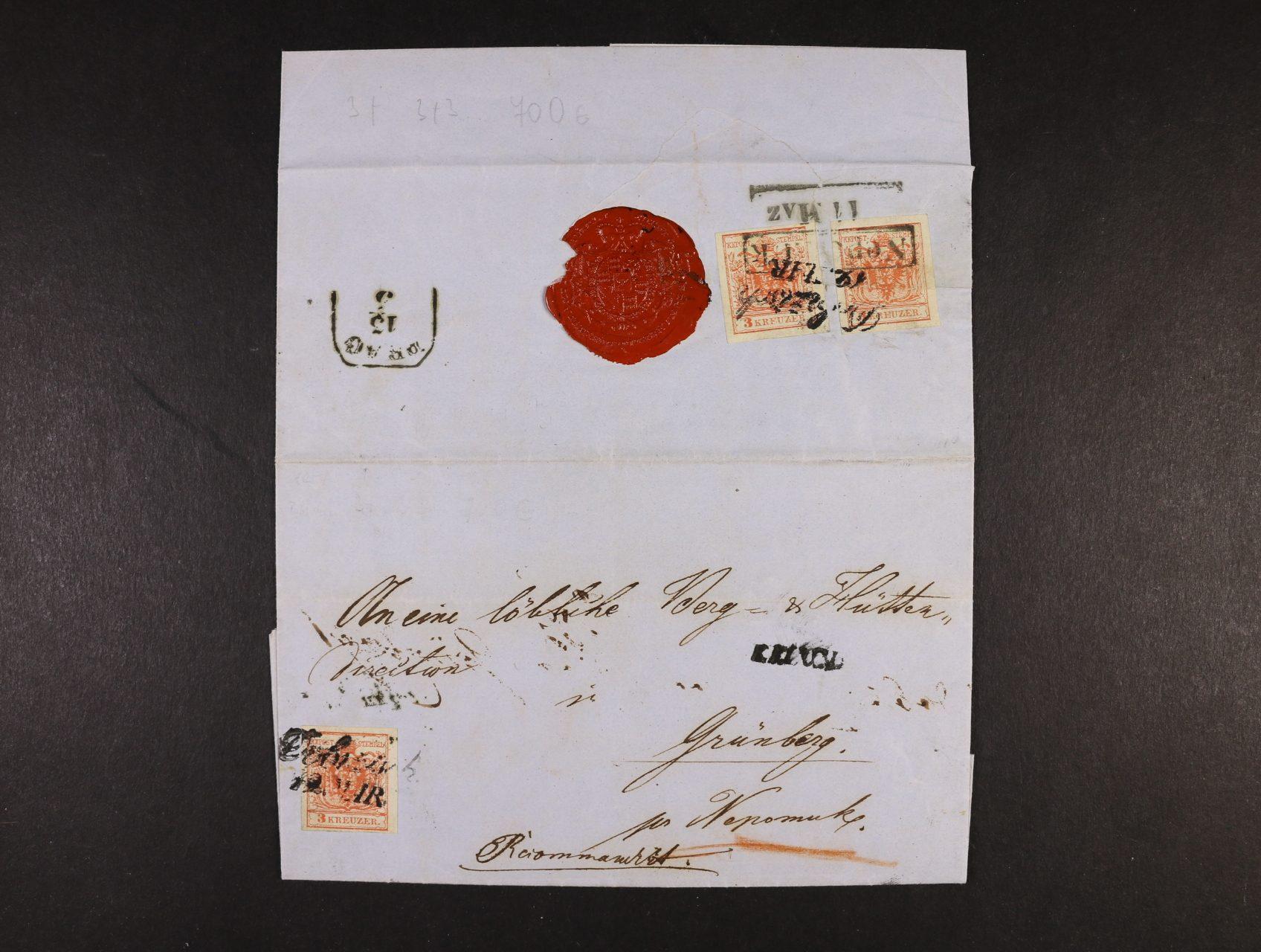 skl. R-dopis do Nepomuku z r. 1854 frank. na přední a zadní str. 3x zn. Fe. č. 3, typ IIIa HP (jedna zn. při otevírání přetržena), přích. a průch. raz.
