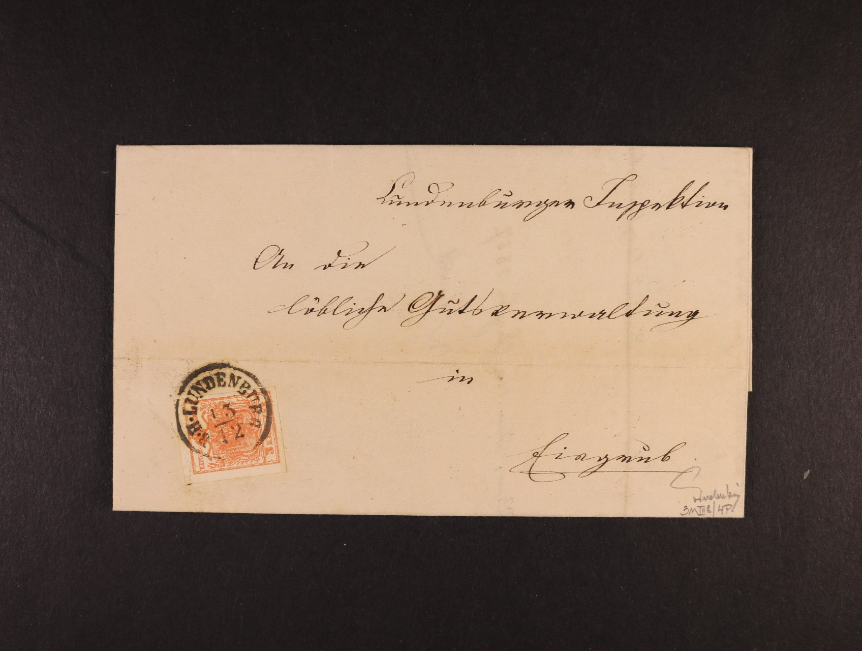 skl. dopis z r. 1857 frank. zn. Fe. č. 3 MP, typ IIIb, pod. nádražní raz. B.H. LUNDENBURG 13.12. (Břeclav), přích. raz. EISGRUB (Lednice), dobrá kvalita