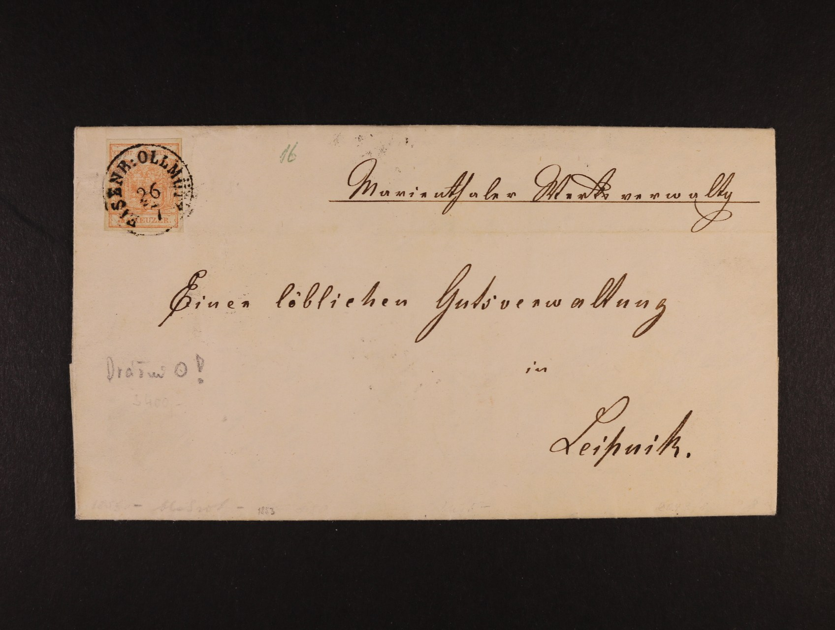 skl. dopis z r. 1853 frank. zn. Fe. č. 3, typ III HP, pod. nádražní raz. EISENB:OLMÜTZ 26.7., průch. a přích. raz.