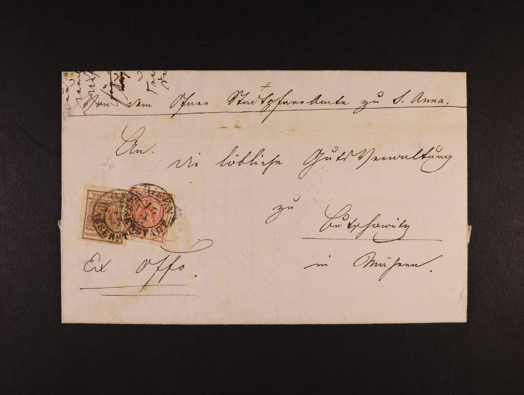 skl. služební dopis z r. 1851 frank. zn. Fe. č. 3 + 4, pod. raz.  OFFEN WASSERSTADT 13.3., průch. a přích. raz.
