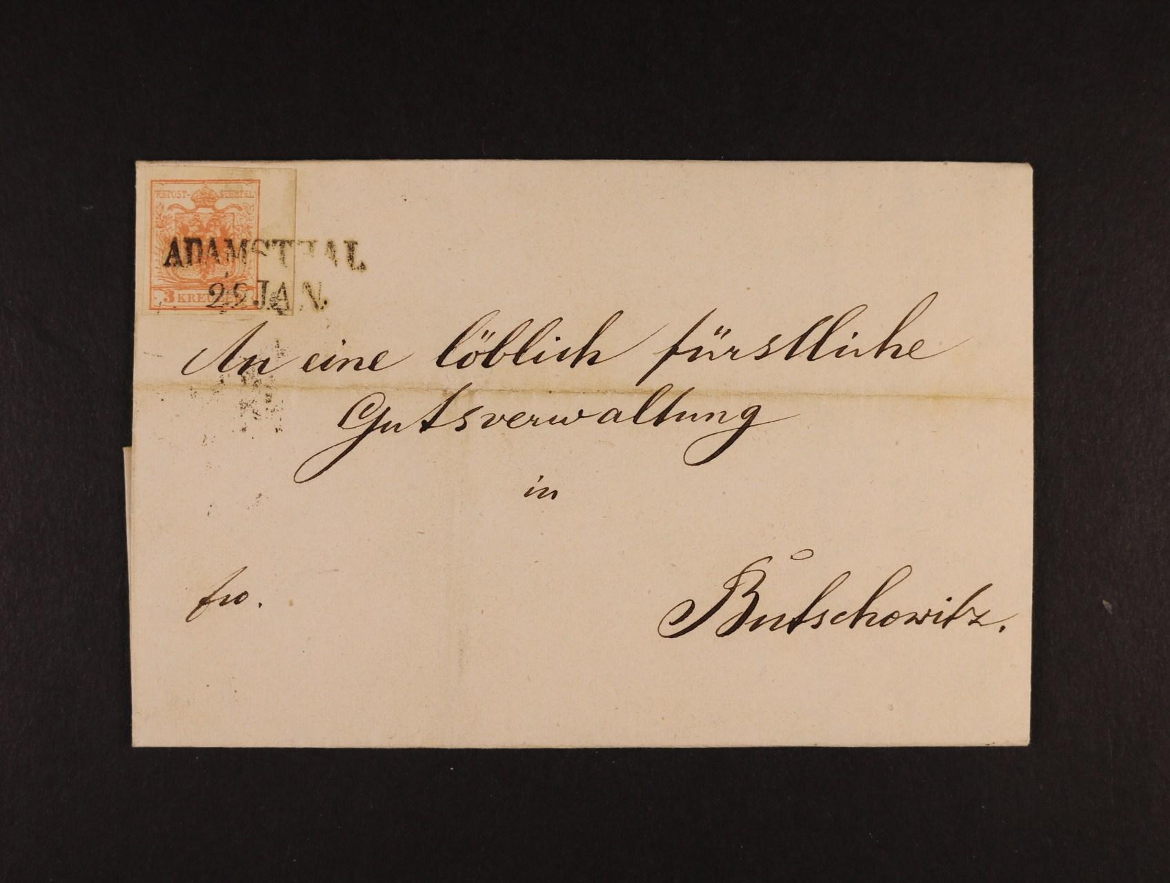 skl. dopis do Bučovic z r. 1857 frank. zn. Fe. č. 3 b s pravým okrajem 6 mm, pod. řádkové raz. ADAMSTHAL 22.JAN., průch. a přích. raz., dobrá kvalita