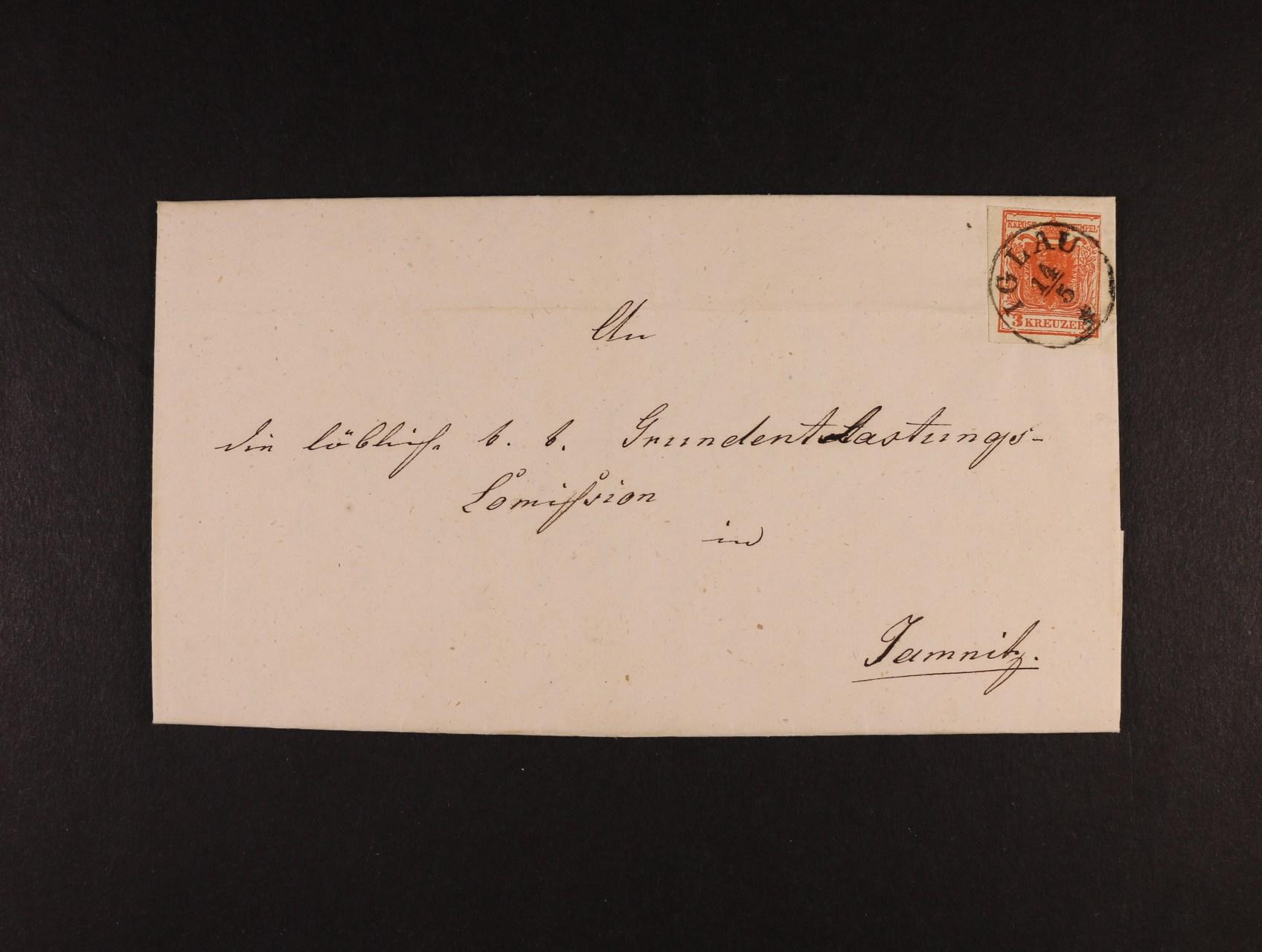 skl. dopis z r. 1851 frank. zn. Fe. č. 3, typ I, vypodložený střed (Unterlegtemittelstück), na levém okraji těsný střih, pod. raz. IGLAU 14.5., v horní části lehký registr. lom, cca 200 EUR