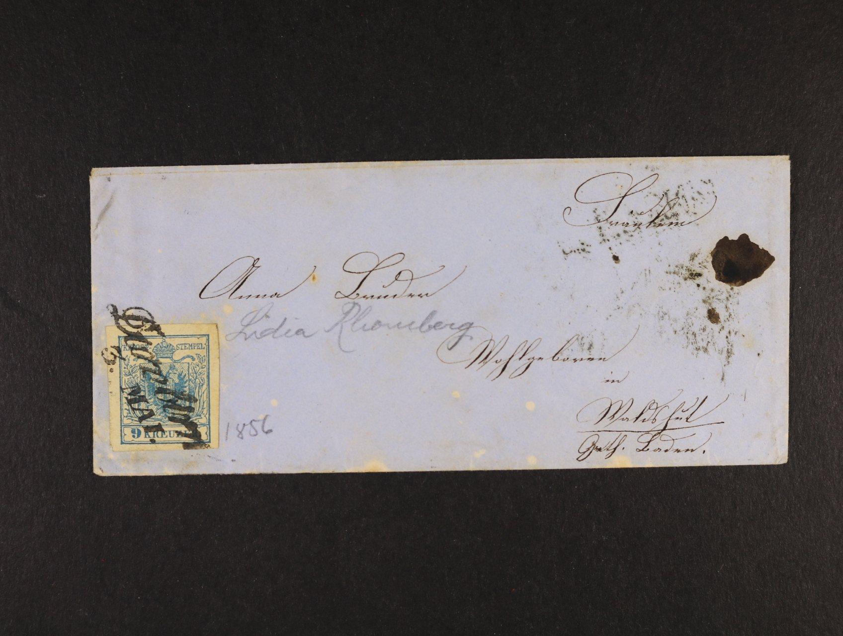 obálka malého formátu z r. 156 frank. zn. Fe. č. 5, typ IIIa, pod. řádkové raz. Dornbirn 3. Mai, průch. a přích. raz.