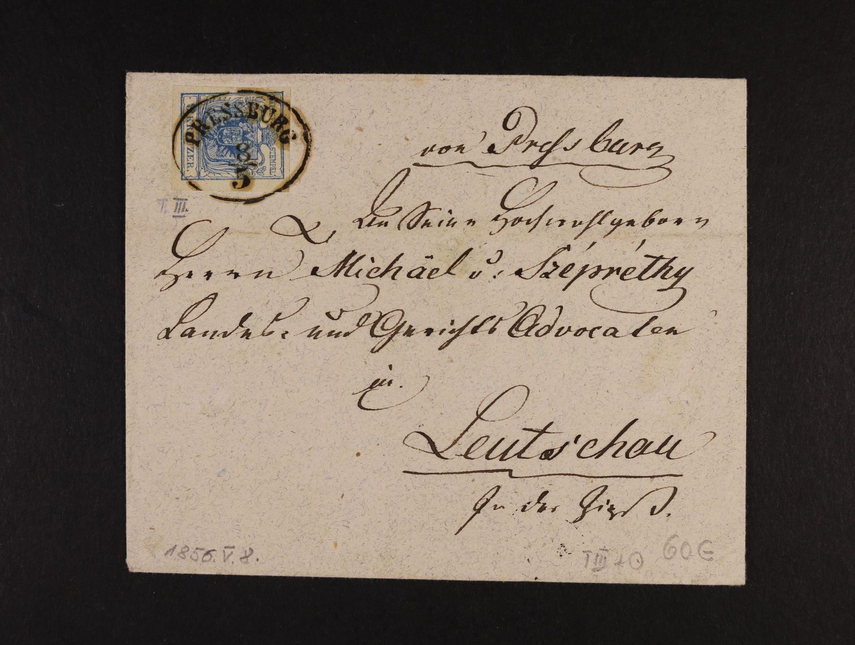 dopis do Leutschau frank. zn. Fe. č. 5, typ III s oválným pod. raz. PRESSBURG, na zadní str. neporušená pečeť a přích. raz., lux. kvalita