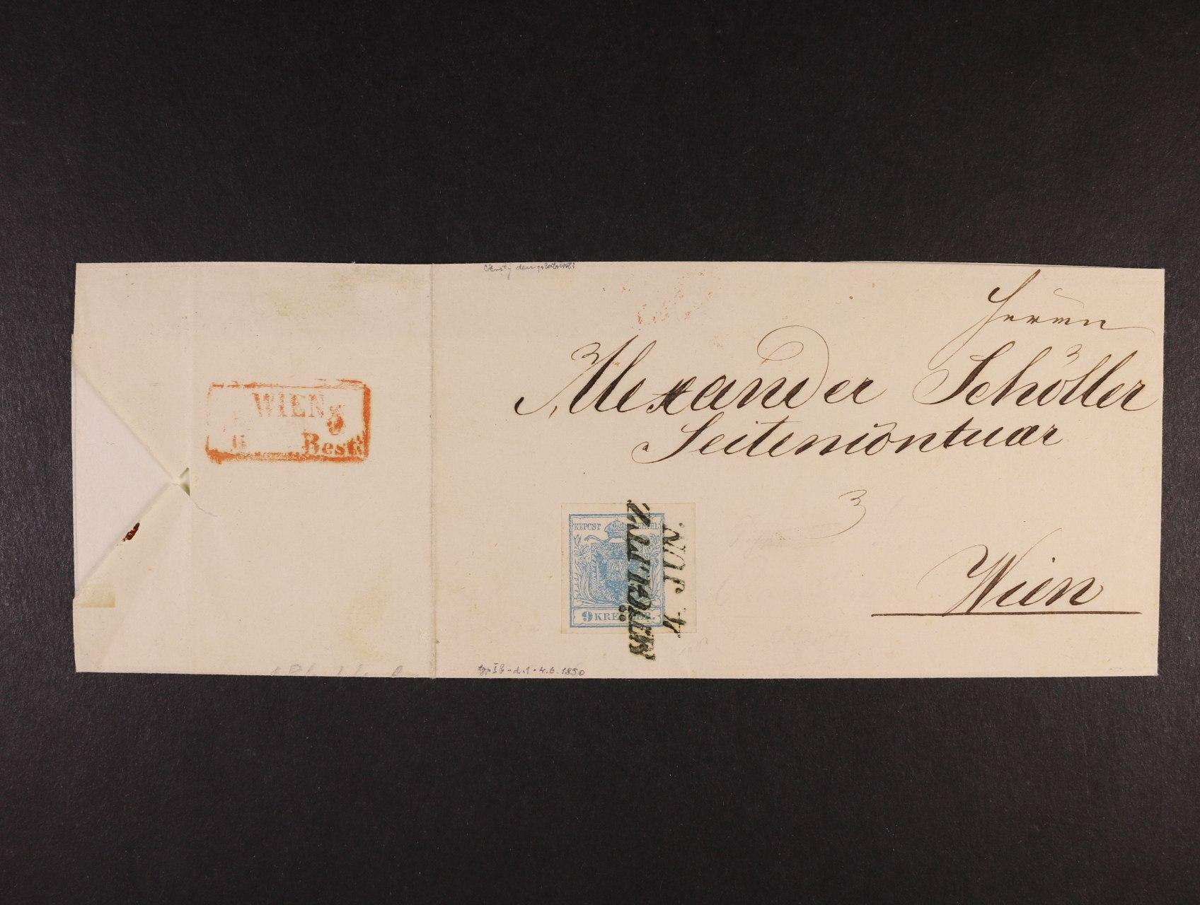 skl. dopis z r. 1850 frank. zn. Fe. č. 5, typ I, HP, s pravým okrajem 6 mm, pod. raz. MÜGLITZ 4.JUN. (čtvrtý den vydání), datace potvrzena v textu, přích. červené rámeč. raz. WIEN, cca 3000 EUR