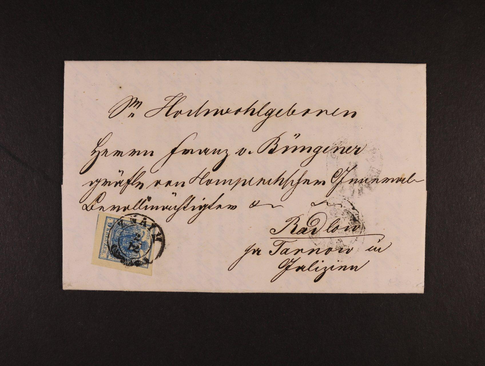 skl. dopis do Polska z r. 1852 frank. zn. Fe. č. 5 HP, typ III, pěkný střih, pod. dvoukruh. raz. ZNAIM 2.12. + průch a přích. raz., dobrá kvalita