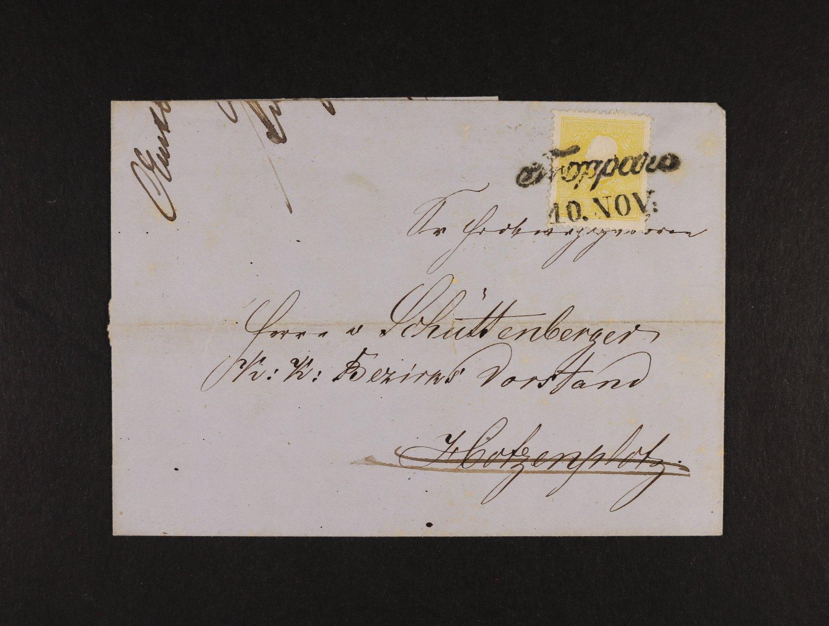 skl. dopis z r. 1859 frank. zn.  Mi. č. 10 II s řádkovým raz. TROPPAU, uprostřed dopisu mimo zn. registr. lom, zajímavé