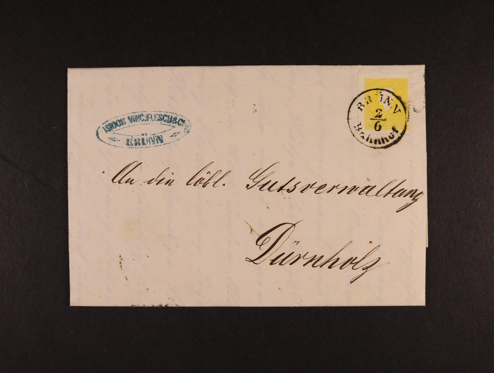 skl. firemní dopis do Drnholce z r. 1861 frank. zn. Fe. č. 10 II, pod. raz. BRÜNN Bahnhof 2.6.+ průch. a přích. raz., lux. kvalita