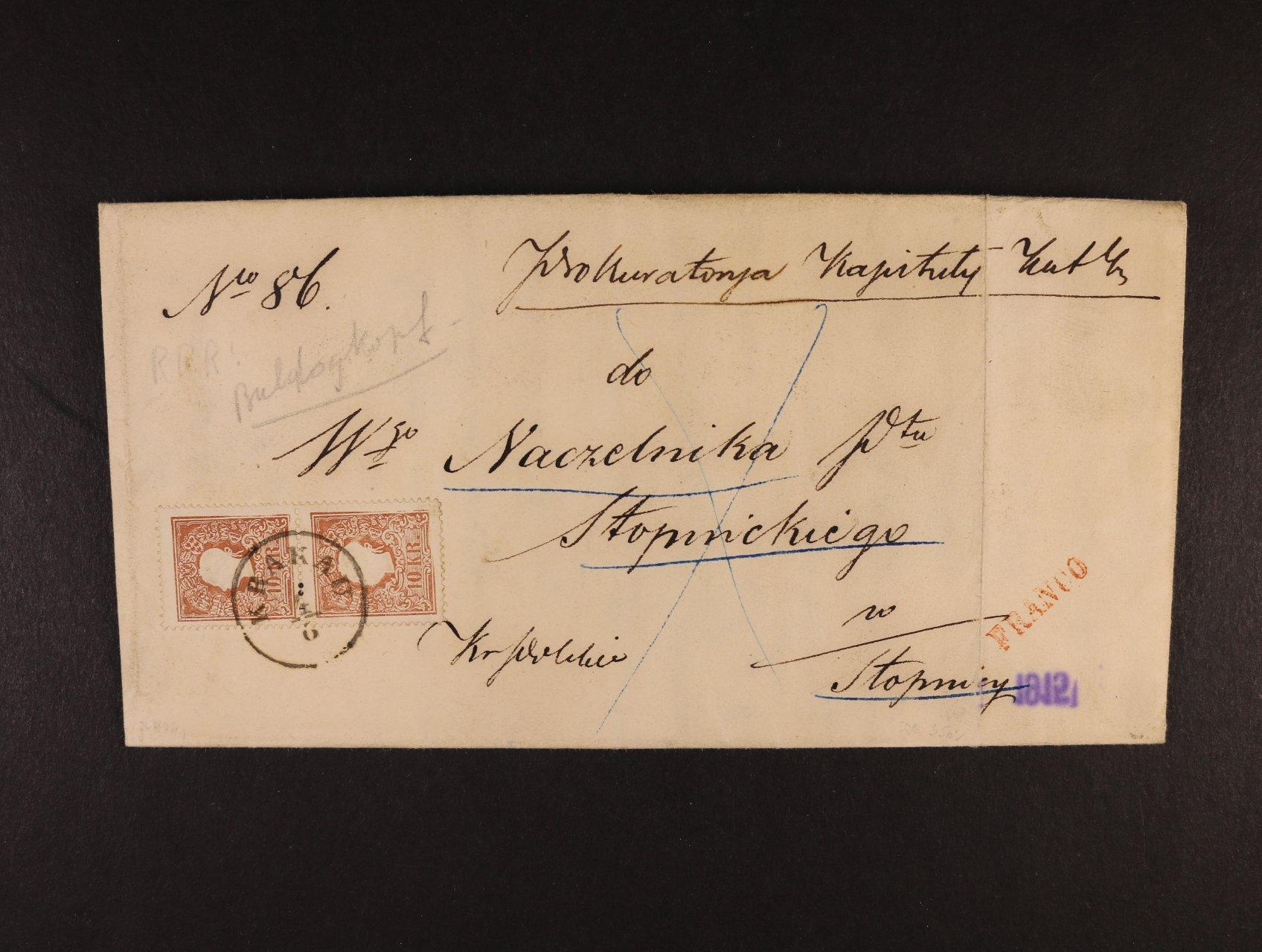 skl. dopis z r. 1861 frank. svislou dvoupáskou zn. Fe. č. 14 II, na spodní zn. TV silně připomínající