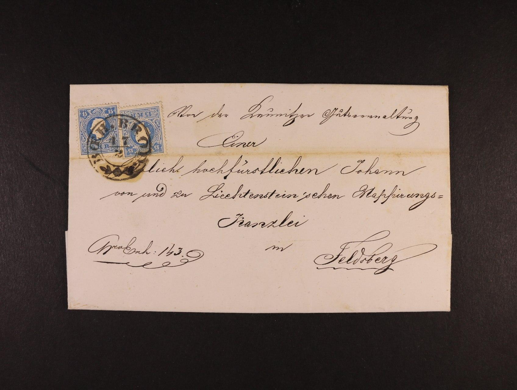 skl. dopis z r. 1860 do Valtic,  frank. zn. Fe. č. 14 II (2x), pod. raz. BOEH. BROD 17.2., průch a přích. raz., zajímavé