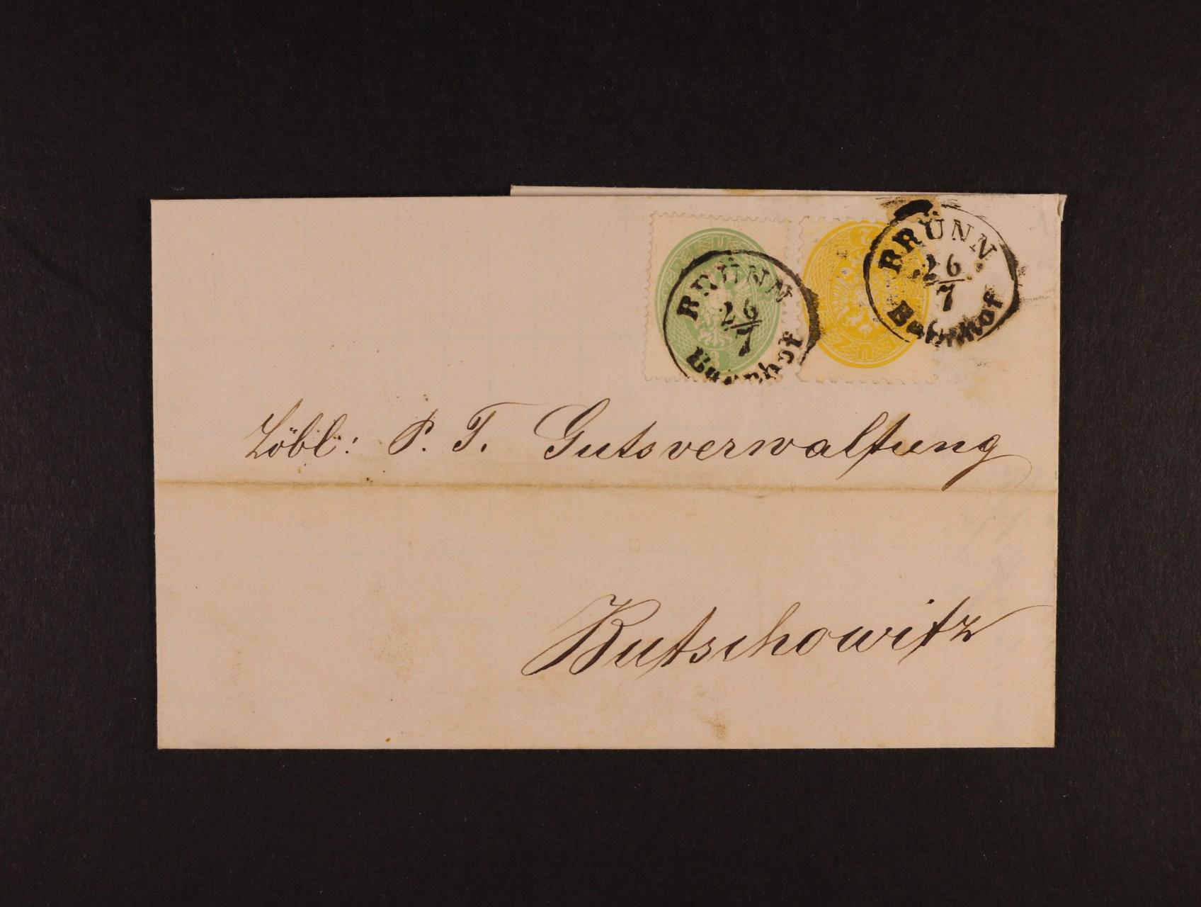 skl. dopis do Bučovic z r. 1864, frank. zn. Fe. č. 25 + 31 smíš. frankatura 4. a 5. emise, pod. raz. BRÜNN BAHNHOF 26.7., kat. cena 2650 EUR