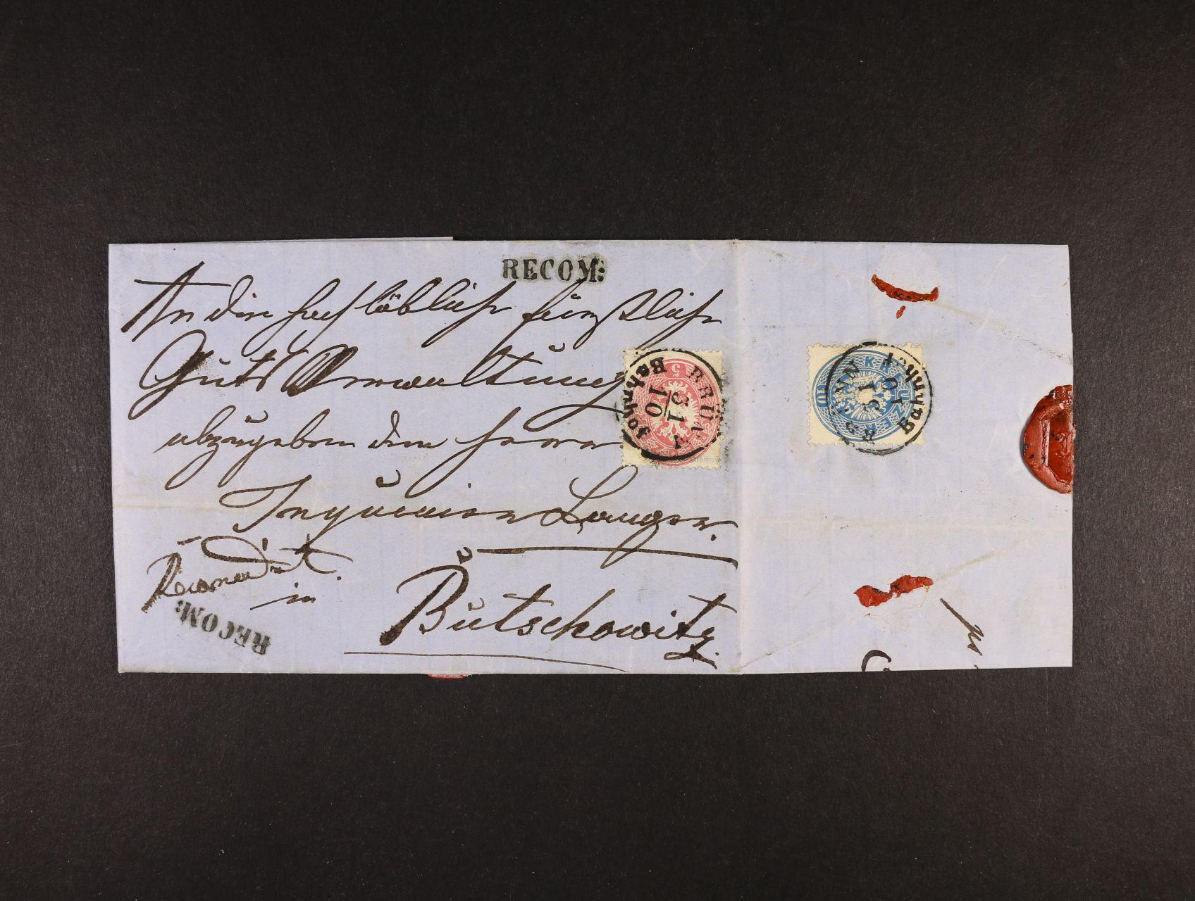 skl. R-dopis do Bučovic z r. 1863 frank. na přední str. zn. Fe. č. 26, na zadní str. zn. Fe. č. 27, pod. raz. BRÜNN BAHNHOF 31.10.