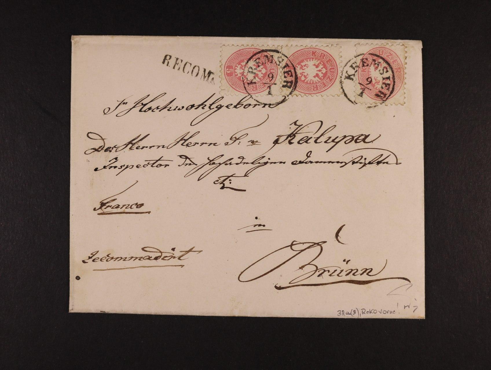 R-obálka s obsahem z r. 1866 frank. zn. Fe. č. 32a (3x na přední straně - RECO zn. na přední straně), pod. raz. KREMSIER 9.1., přídavné řádkové raz. RECOM + příchozí rámeč. raz.BRÜNN 10.1., zk. Ferchenbauer