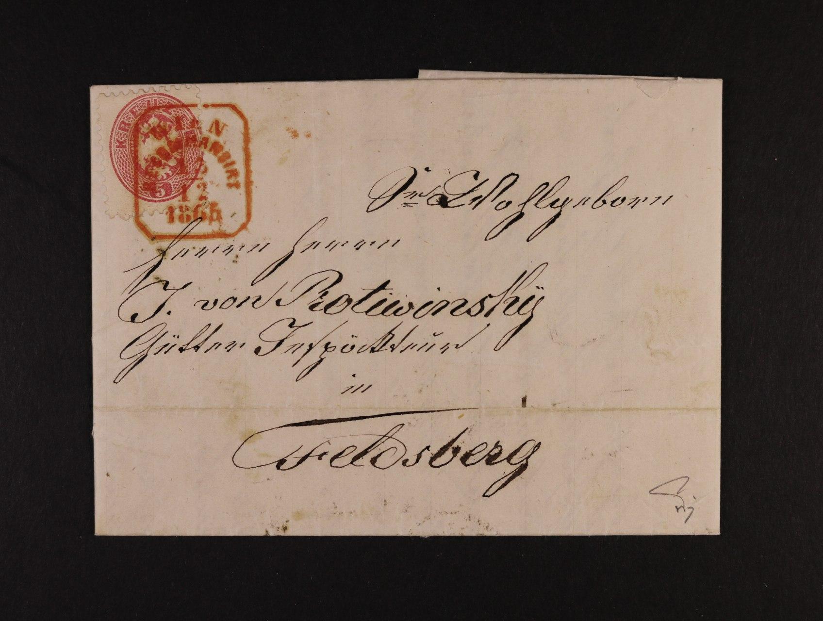skl. R-dopis do Valtic z r. 1865 frank. na přední str. zn. Fe. č. 32, na zadní str. zn. Fe. 33 (při otevírání utržený rožek), pod. červené rámeč. raz. WIEN REKOMMANDIRT 13.12.1865, průch. a přích. raz., zk. Ferchenbauer
