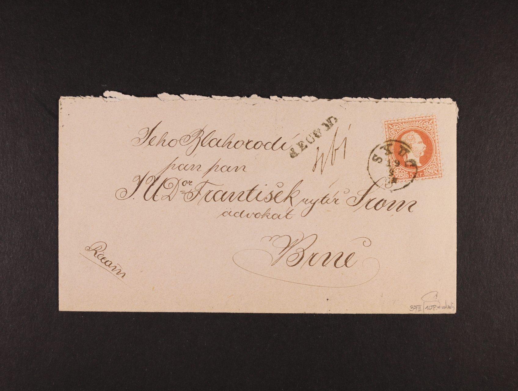 R-dopis malého formátu do Brna z r. 1883, frank. na přední a zadní str. zn. Fe. č. 37 II (3x), pod. raz. SKUC 19.9., průch. a přích. raz., lux. kvalita, zk. Ferchenbauer