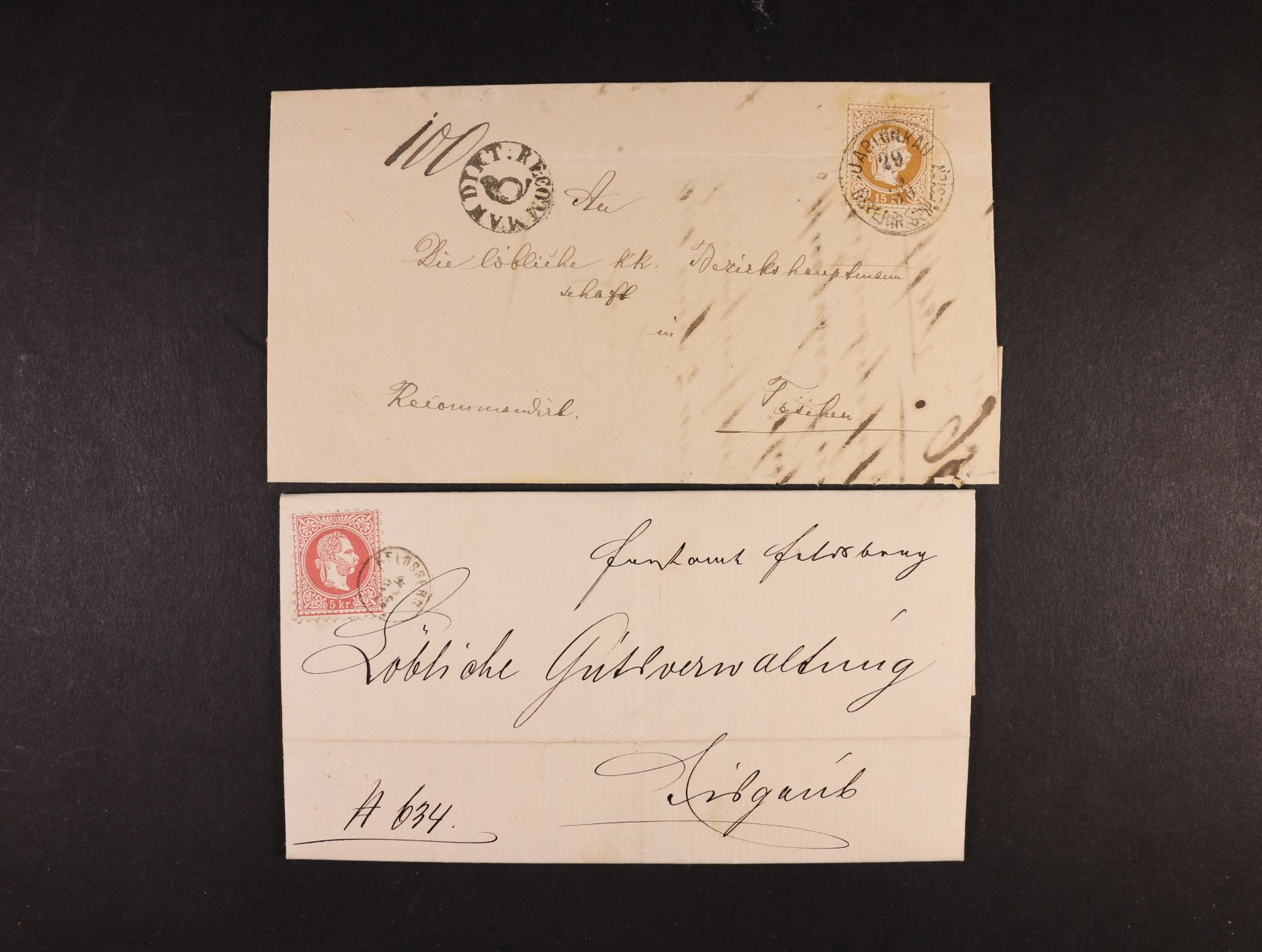 skl. dopis do Lednice z r. 1871 frank. zn. Fe. č. 37 I s náprstkovým raz. FELDSBERG, průch. raz. LUNDENBURG a modré přích. raz. EISGRUB + R-dopis z r. 1880 frank. zn. Fe. č. 39 II, pod. raz. JABLUNKAU 29.5.80 + kulaté příd. raz. RECOMMANDIRT s pošt. trubkou uprostřed, v horní části i přes zn. slabý registr. lom, přesto velmi zajímavé, vzácné