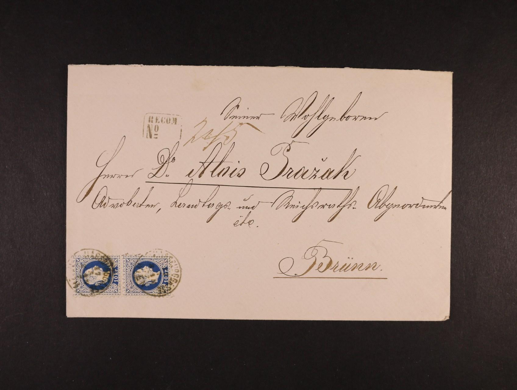 R-dopis do Brna z r. 1877 frank. svislou dvoupáskou zn. Fe. č. 38 II, pod. raz. WIEN HABSBURGGASSE 17.5., přích. raz., lux. kvalita