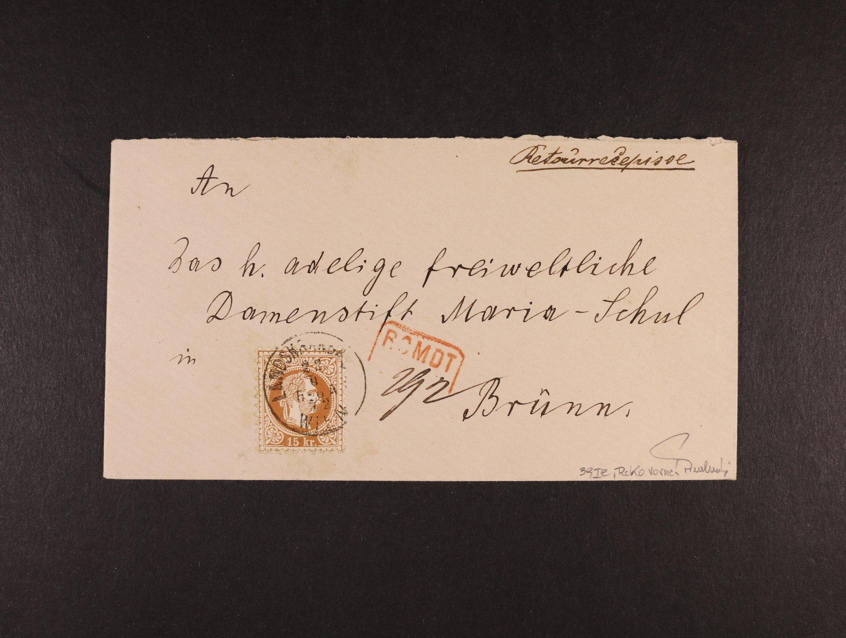 R-dopis malého formátu do Brna z r. 1872, frank. zn. Fe. č. 39 Ic, pod. raz. LANDSKRONGASSE WIEN 23.6.72, červené rámeč. raz. RCMDT, přích. raz., zk. Ferchenbauer