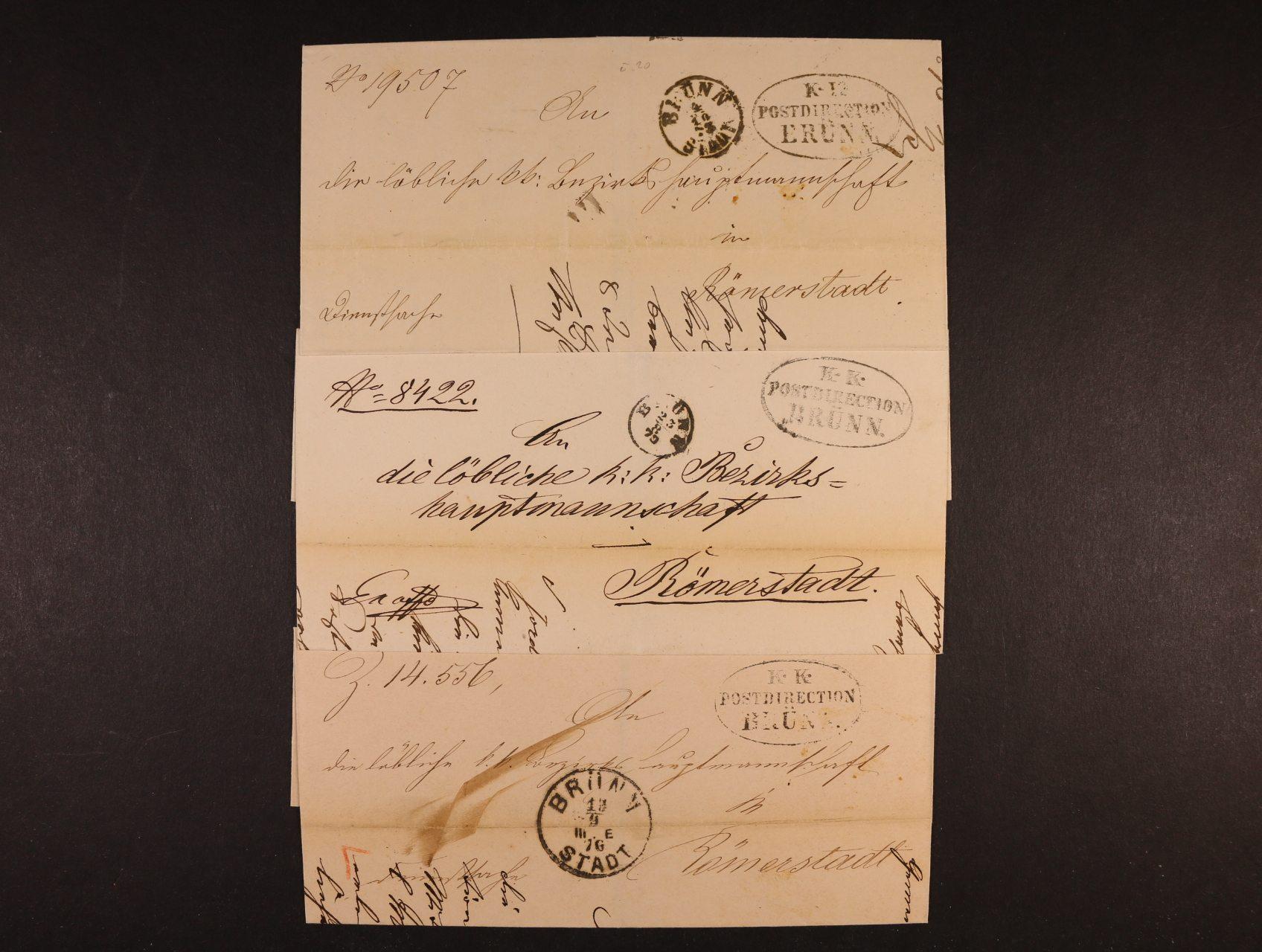 sestava 3 ks skl. dopisů EX offo z let 1870 - 76 se služ. oválným raz. K.K. POSTDIRECTION BRÜNN + raz. BRÜNN vždy v jiném typu