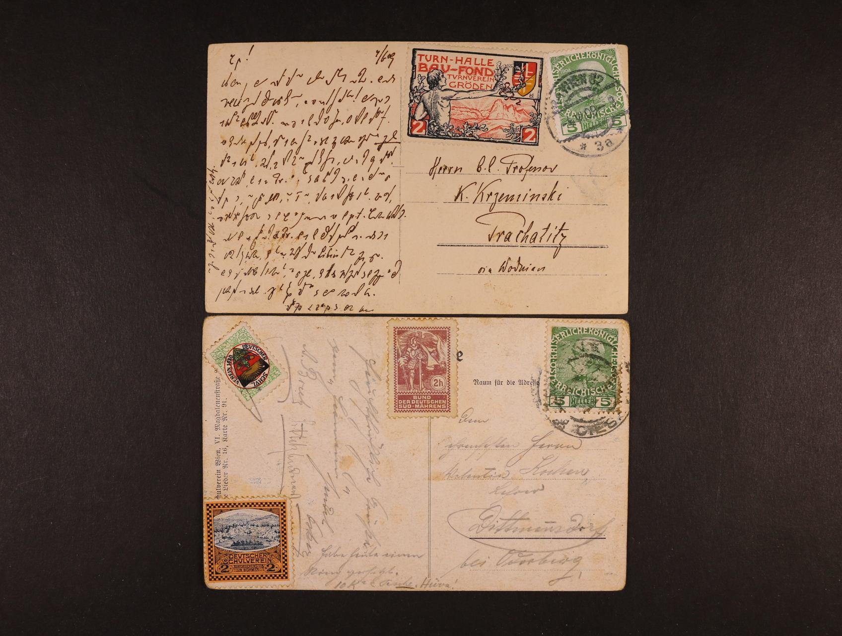 dvě pohlednice frank. zn. 5h F.J. 1908 s dolepenými různými nálepkami něměckých moravských spolků, zajímavé