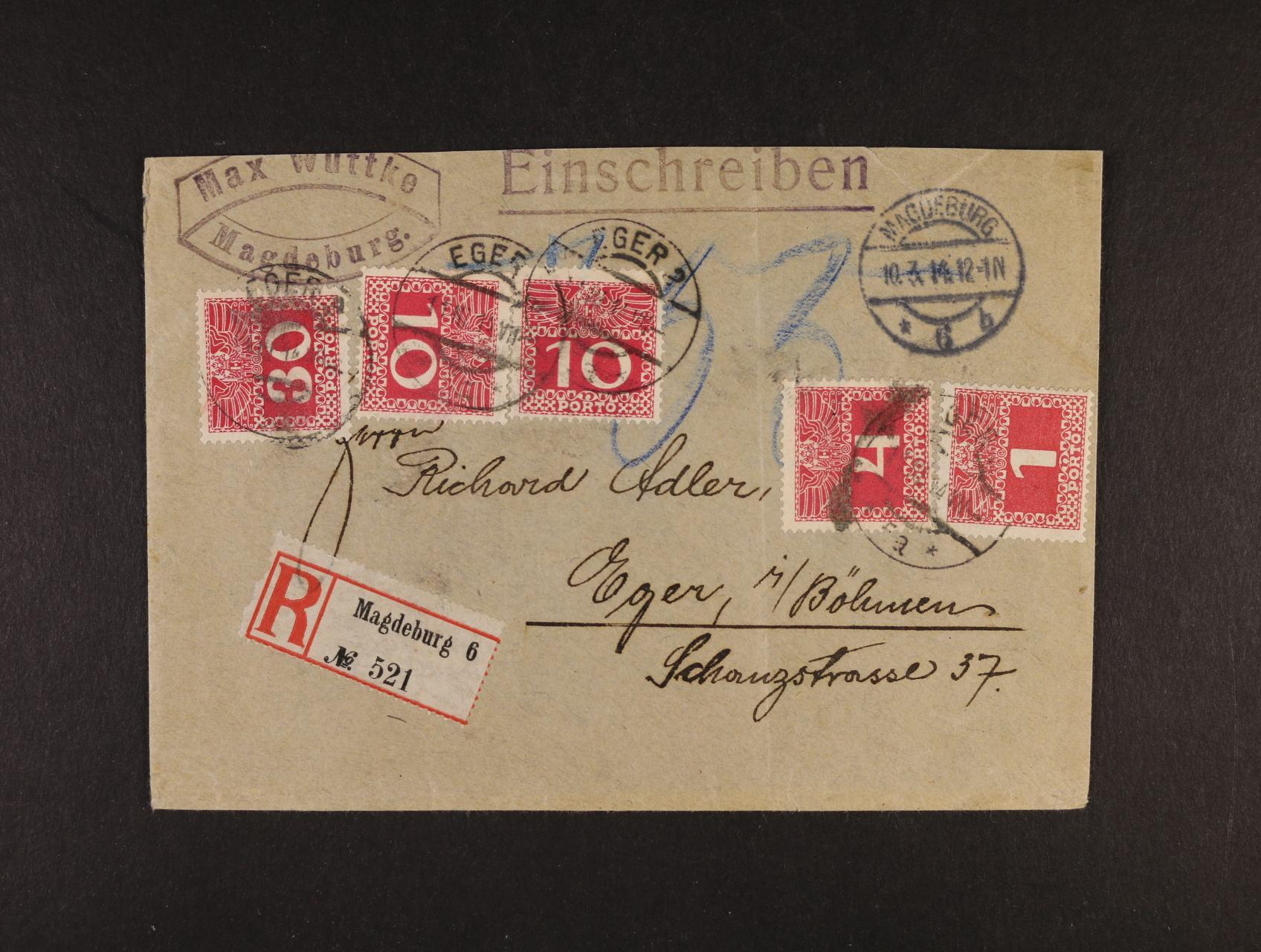 R-dopis zaslaný nevyplaceně do Chebu, pod. raz. MAGDEBURG 10.3.1914, v Chebu zatíž. tr. portem 55h s raz. EGER 113.14, zajímavé