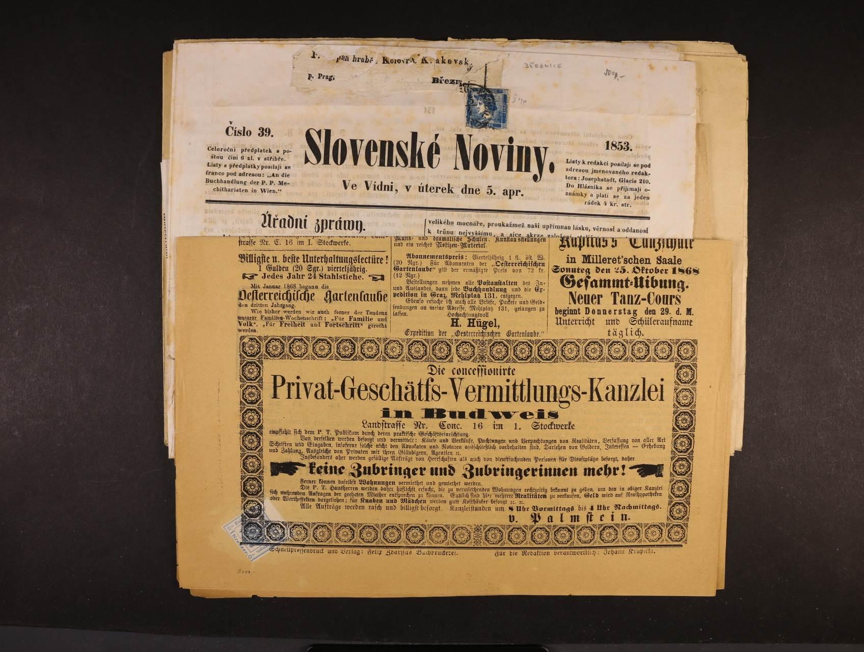 sestava 6 ks různých novin se signětami, 1x frank. zn. Fe. č. 6, 2 ks frank. novinovou zn. Fe. č. 2, 1x frank. zn. Fe. 7, kvalita k prohlédnutí