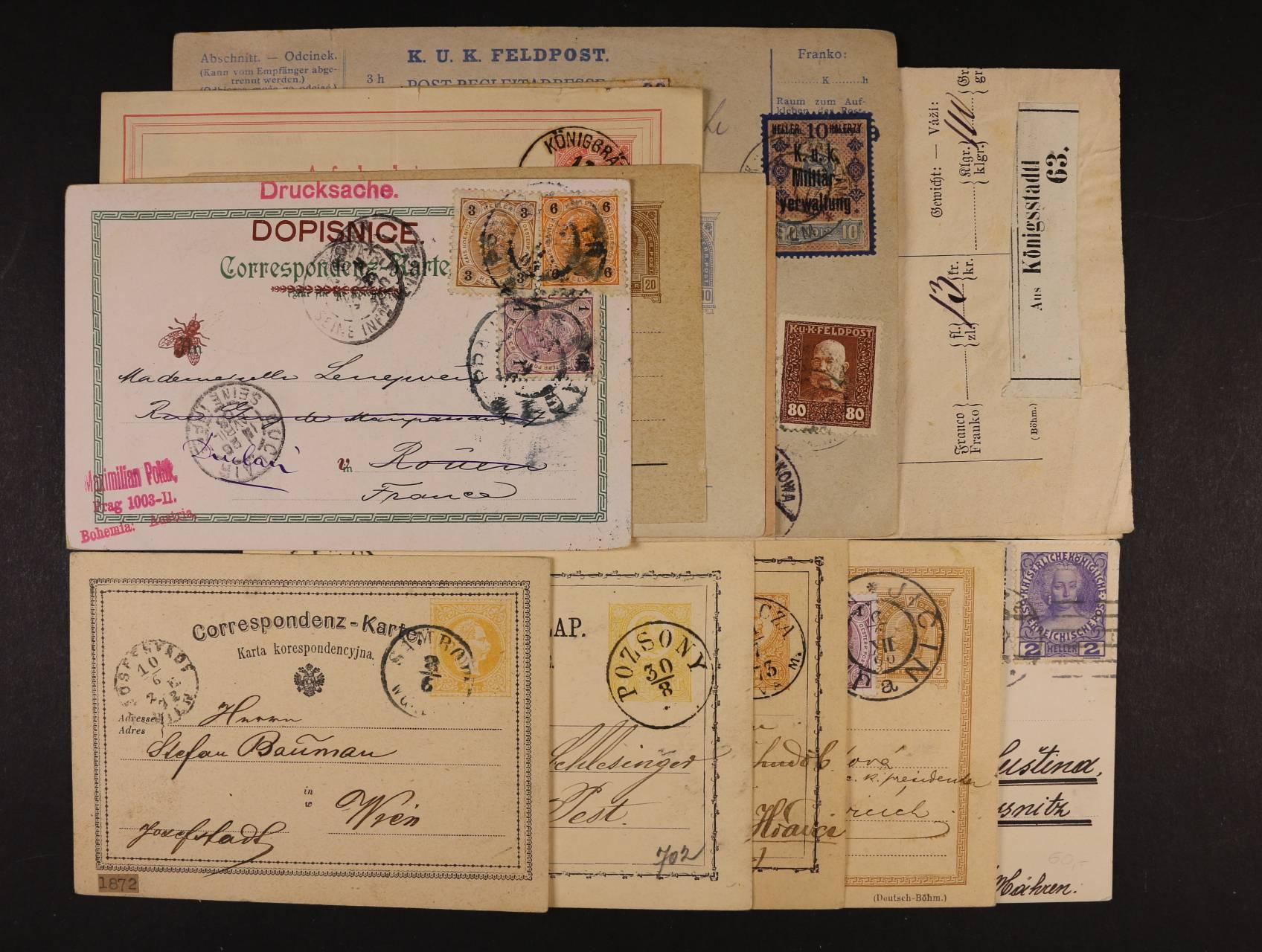 sestava 16 ks celin a celistvostí, formulářů z let 1872 - 1917, použitých i nepoužitých, mj. smíš. frankatura kr. hal., zajímavé