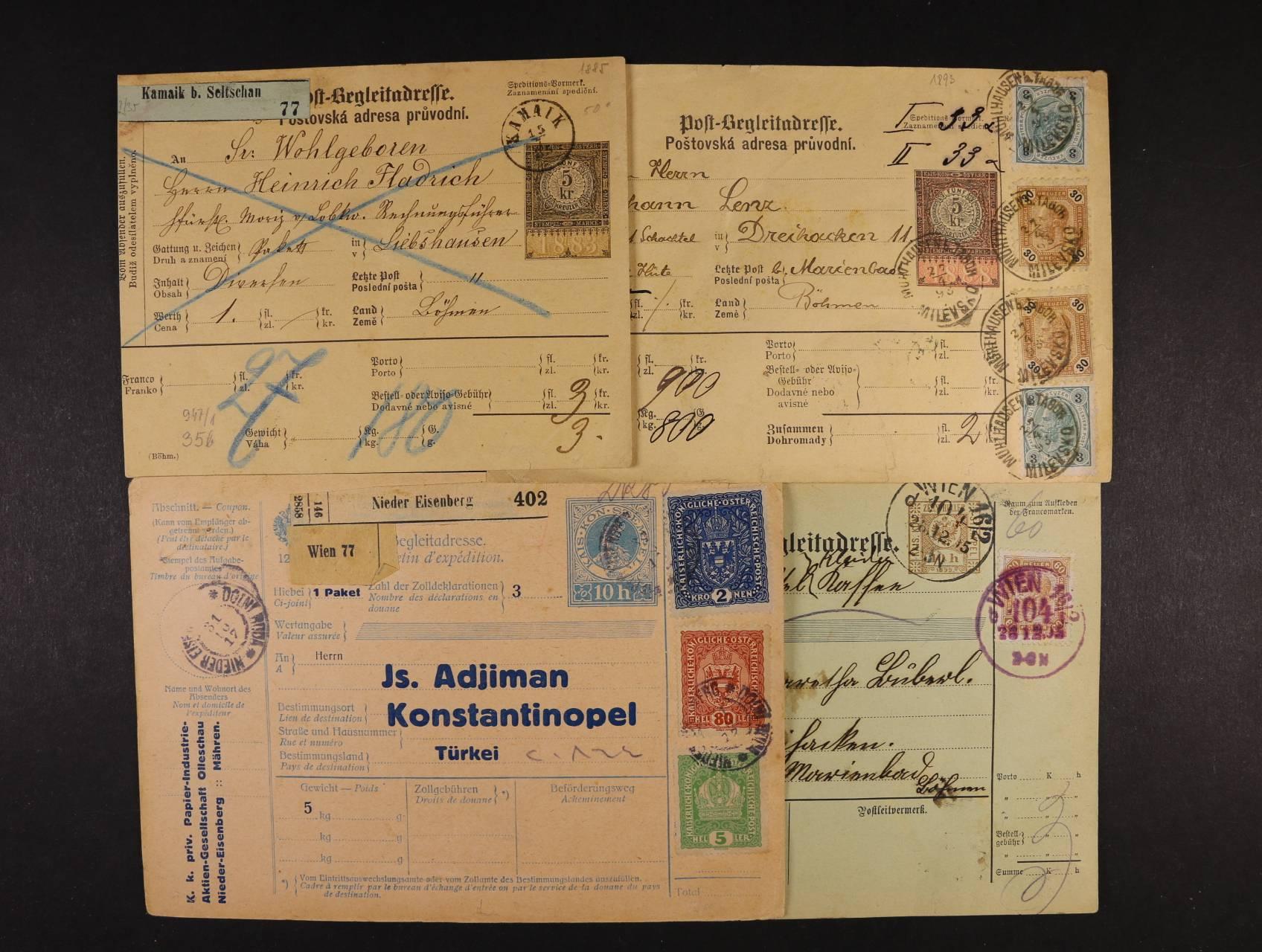 sestava 4 ks různých pošt. průvodek z let 1885 - 1917, zajímavé, pestré, vysoké frankatury