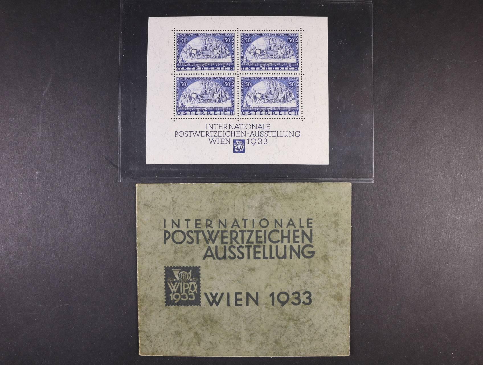 Bl. Mi. 1 - výstavní aršík WIPA 1933 vč. orig. destiček, velmi dobrá kvalita, 4000 EUR