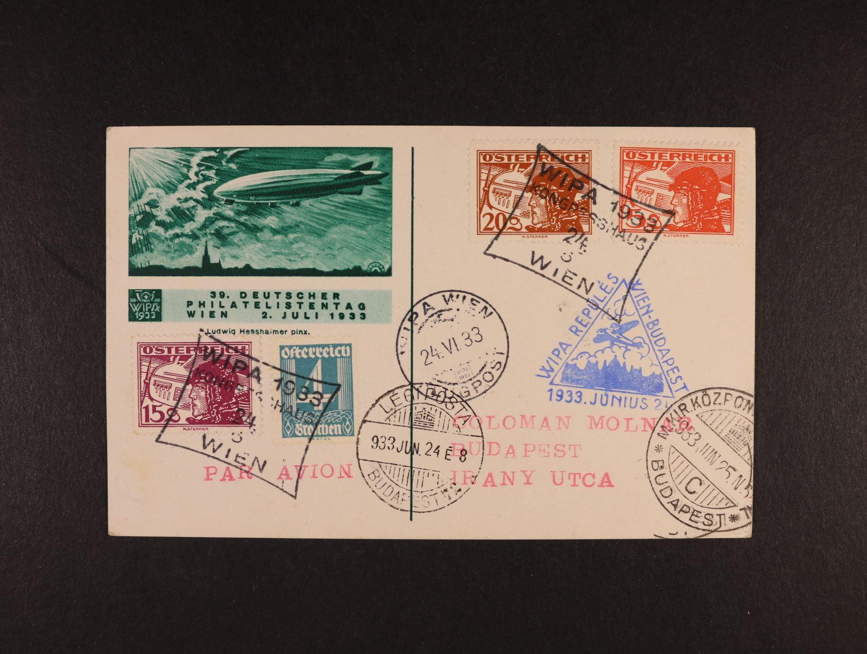 oficielní KL WIPA 1933 přepr. do Budapešti výstavním letem Wien - Budapest, pod. rámečkové raz. WIPA 1933 24.6.33, modrý palubní kašet, průch. a přích. raz., lux. kvalita