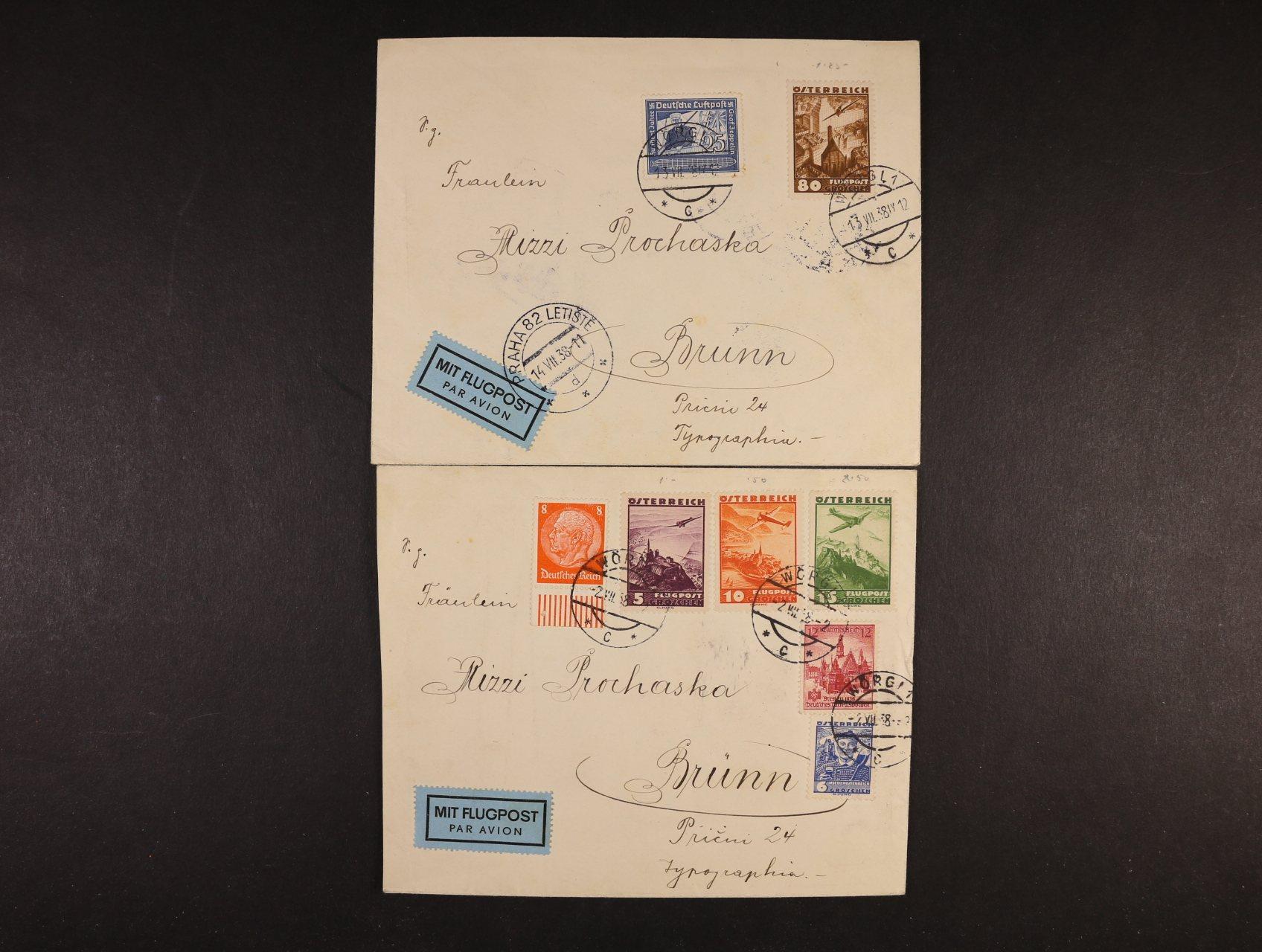 dva let. dopisy do Brna z r. 1938 (Anschluss), se smíš. rakousko-něm. frankaturou ze dne 2. a 13. 7. 1938