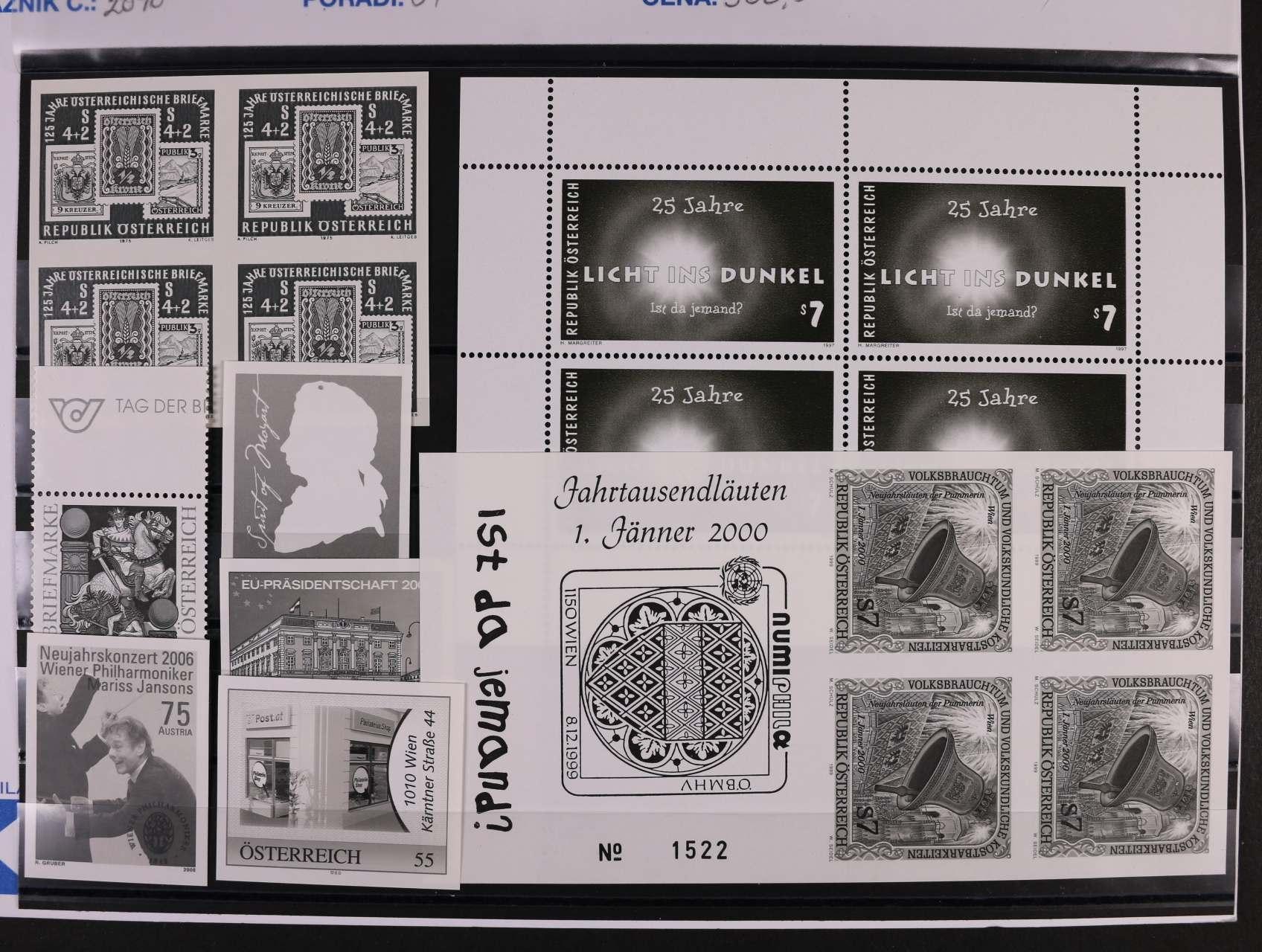 sestava ZT v černé barvě zn. Mi. č. 1504 ve čtyřbloku, 2238 v TL, 2299 v TL, 2097, 2564 - 566, 2572, 122 EUR