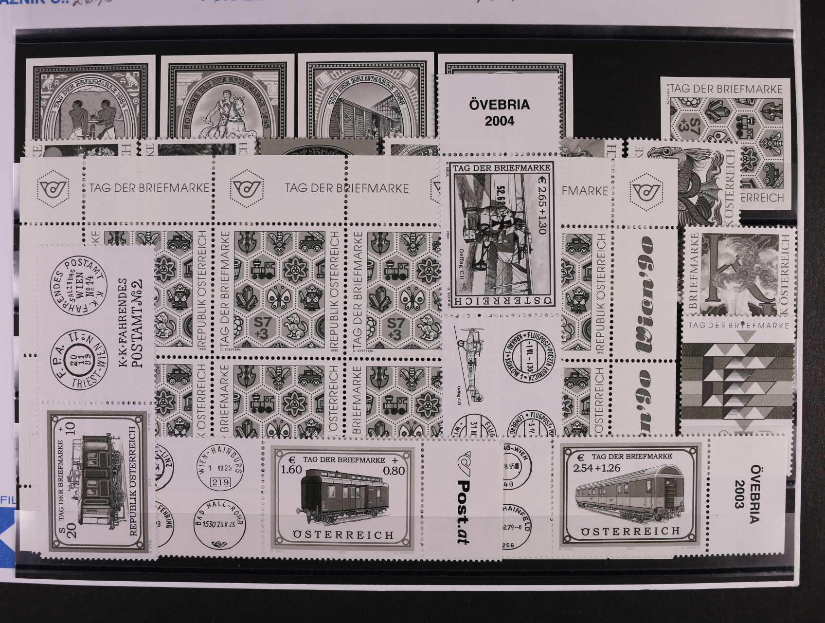 nekompl. sestava 17 ks ZT v černé barvě od zn. Mi. č. 1797 - 2482 z let 1984 - 2004, mj. ZT zn. Mi. č. 1990 v kompl. PL, celkem 157 EUR