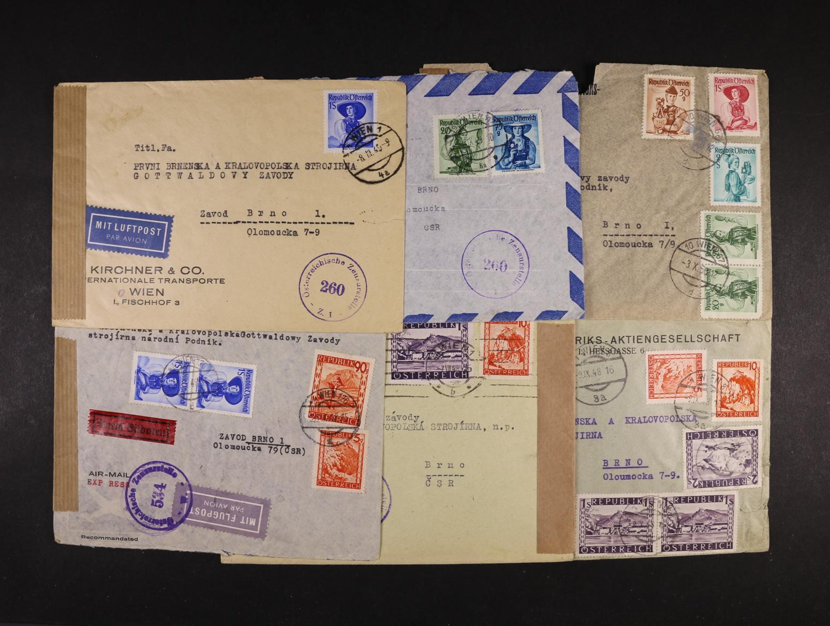 sestava 4 ks dopisů do ČSR - R-EXPRES, RECO, zajímavé vysoké, pestré frankatury, cenzurní pásky a raz.