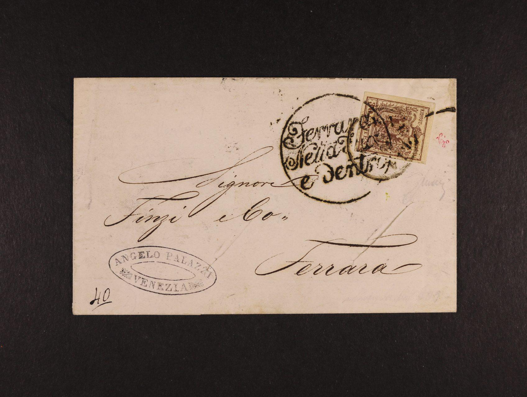 skl. cholerový firemní dopis do Ferrari, pod. raz. VENEZIA 18.11.1854, přídavné cholerové raz., dopis na dvou místech proříznut pro desinfekci