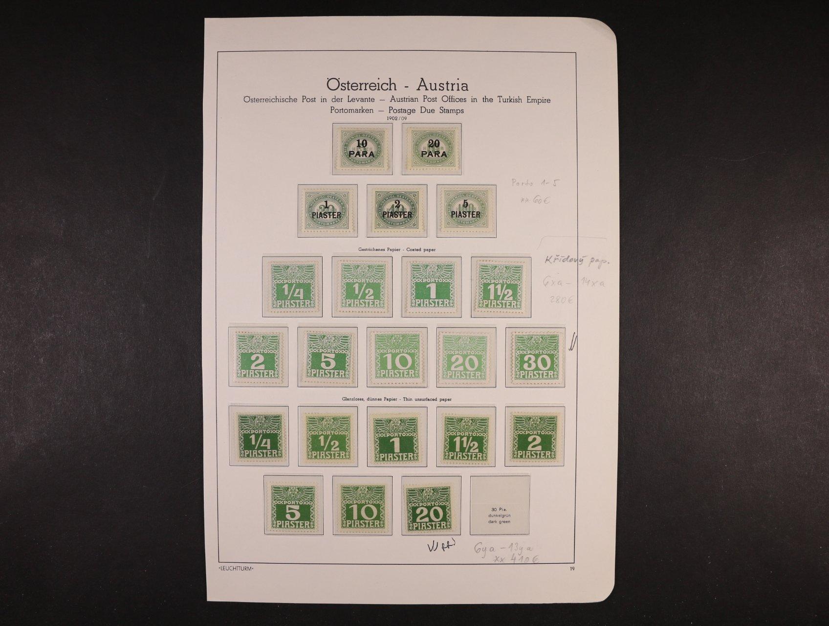 zn. doplatní 1902 - 9 - sestava zn. na různých papírech  v barvě světlé a tmavé, obsahuje zn. Mi. č. 1 - 5, 6xa - 14xa, 6ya - 13ya (chybí 14ya), 6xb - 14xb, 6yb - 13yb (chybí 14yb), 2015 EUR, uloženo na dvou listech v Hawidkách