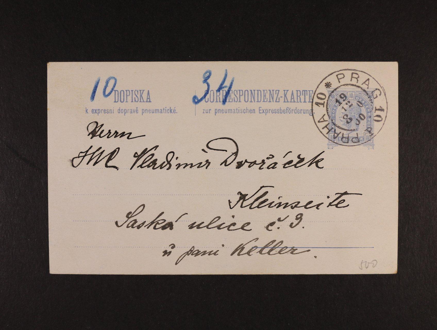 celina Mi. RP č. 16 s pod. raz. PRAG 10 19.12.1900, lux. kvalita