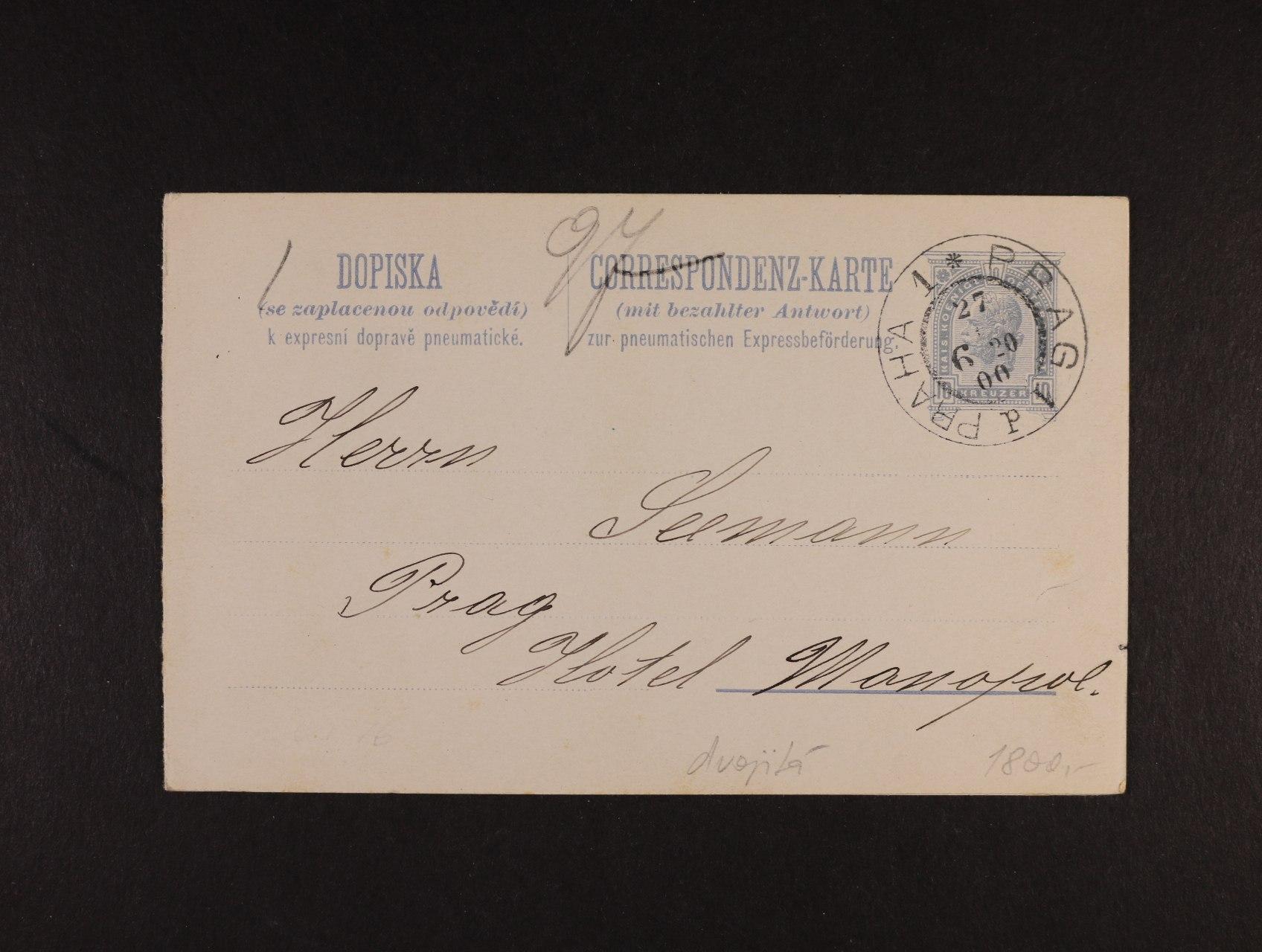 celina Mi. RP č. 17 dvojitá s pod. raz. PRAG 1 27.6.1900