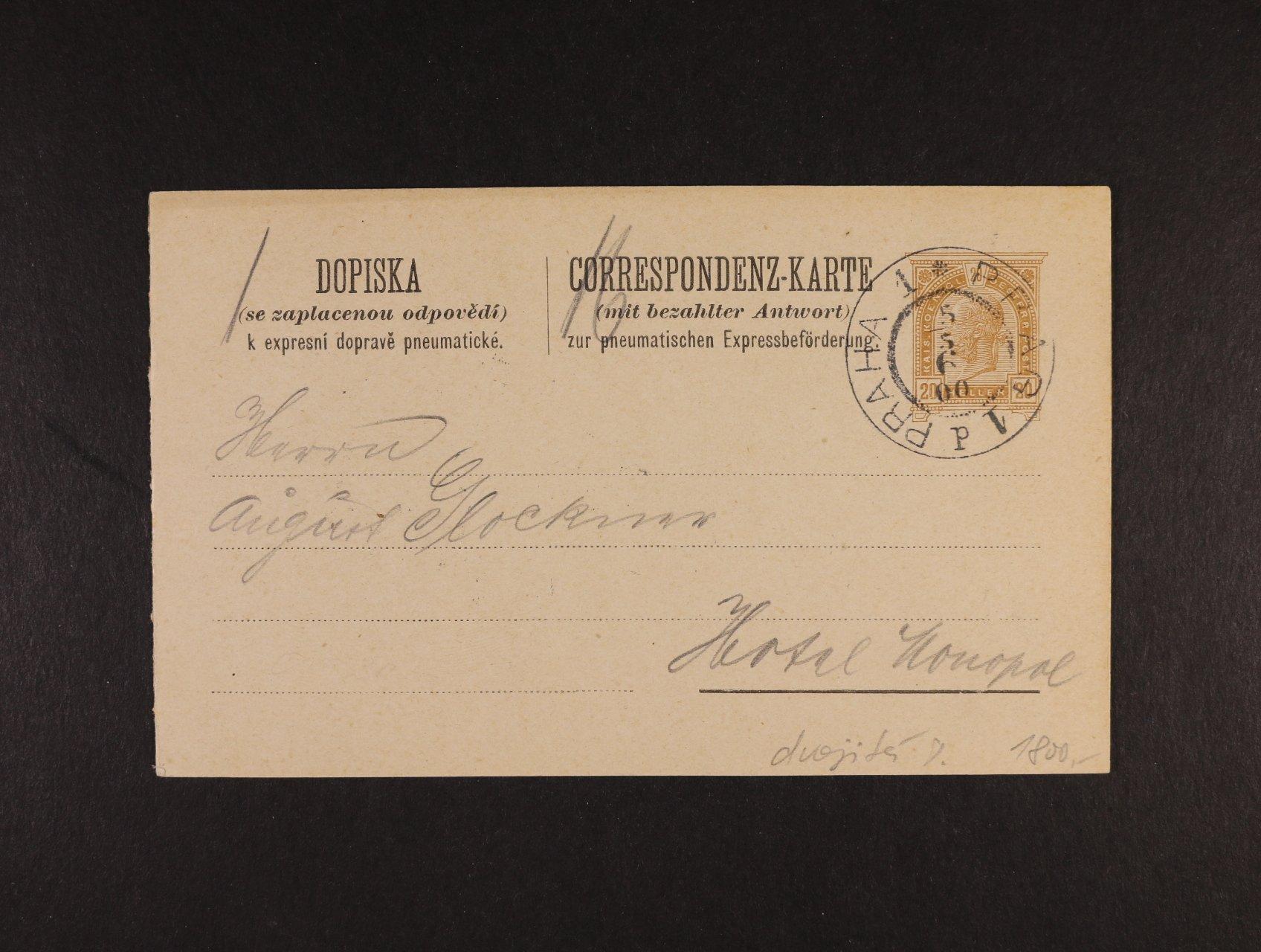 celina Mi. RP č. 21 dvojitá, pod. raz. PRAG 1 5.5.1900, dobrá kvalita