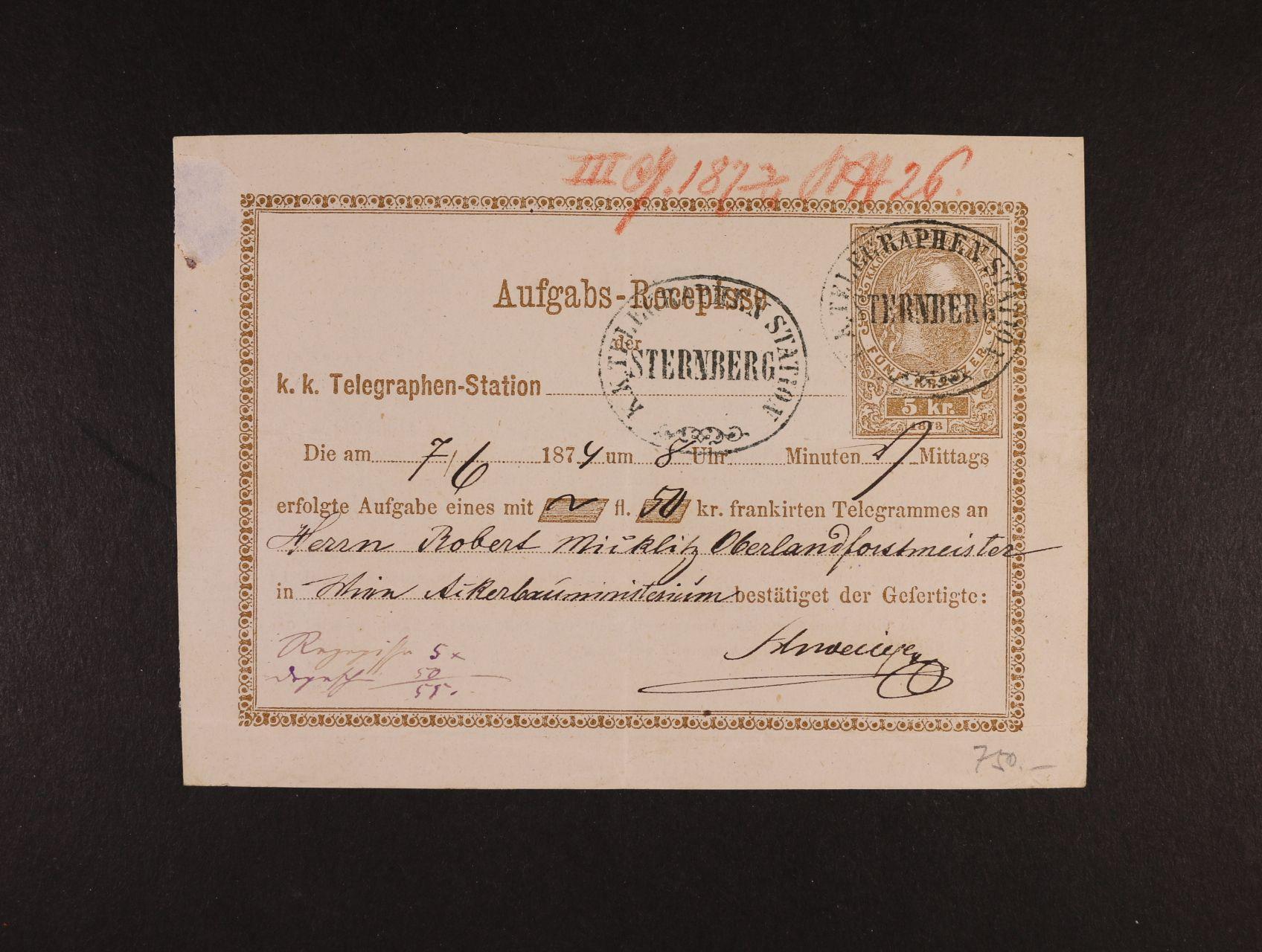 Aufgabs-Recepisse Mi. TA č. 5, pod. raz. K.K. TELEGRAPHEN STATION STERNBERG s datací v textu 1874