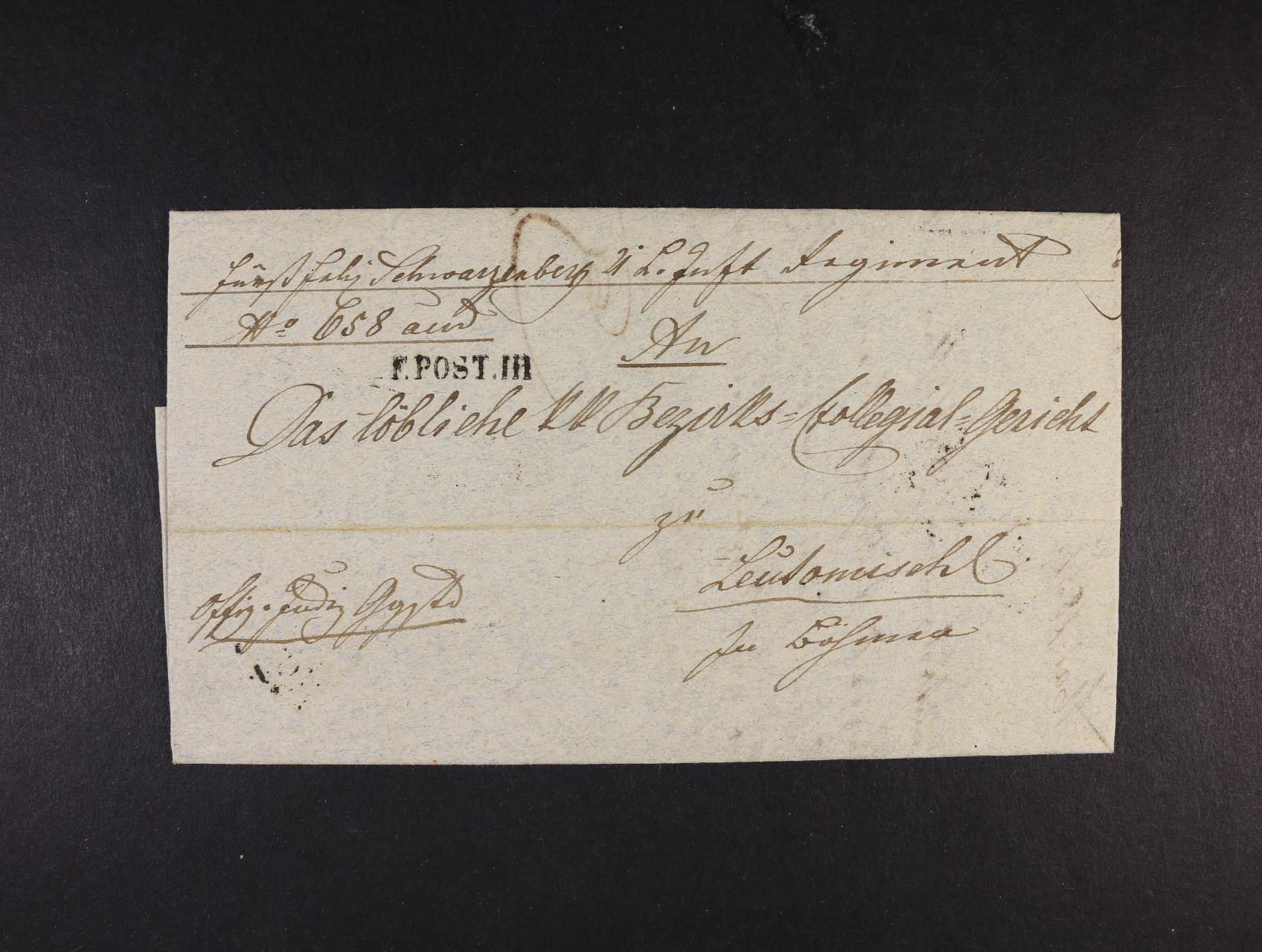 skl. dopis do Litomyšle z Ancony 4.5.1851 s řádkovým raz. F. POST. III, průch. a přích. raz, velmi dobrá kvalita, vzácné